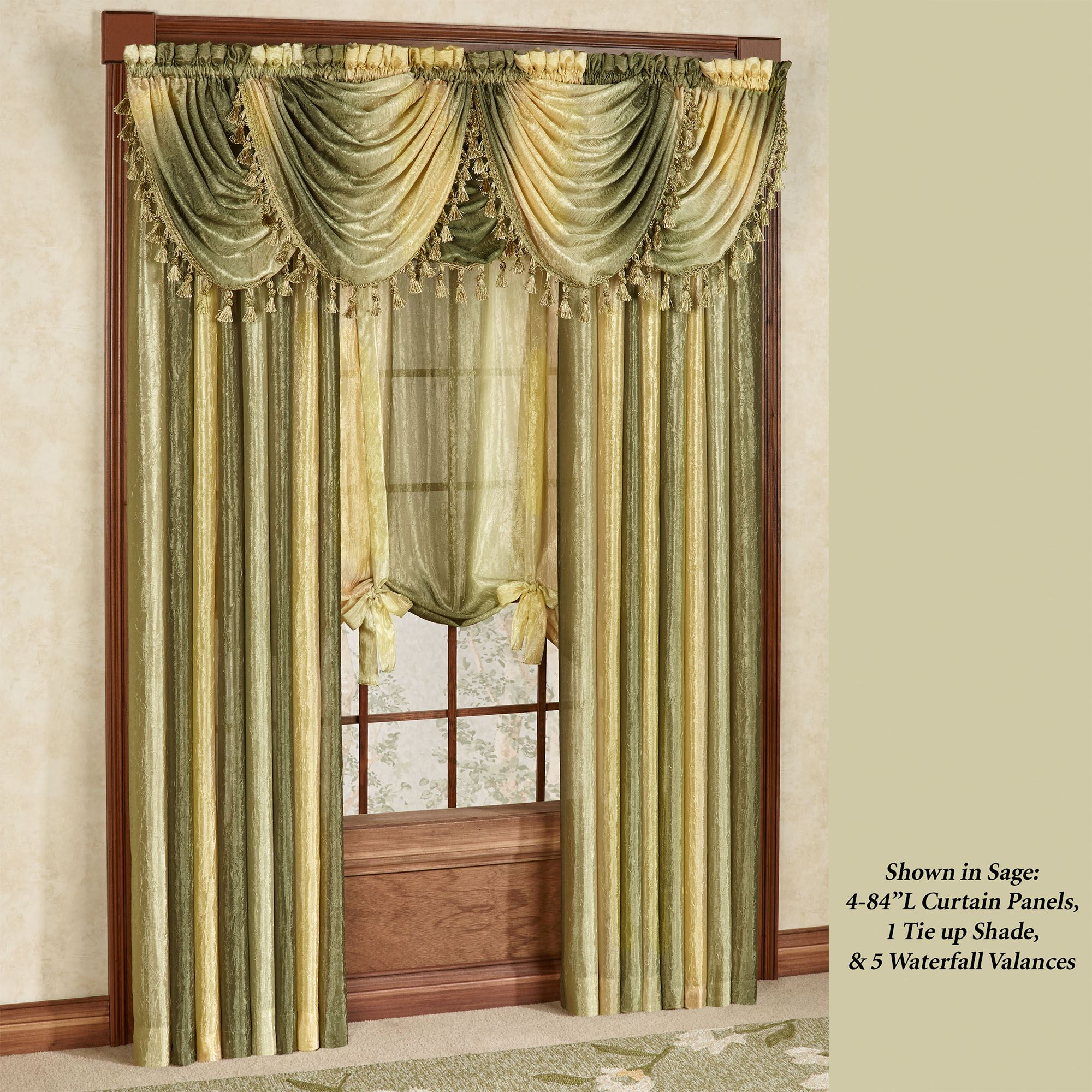Popular Ombre Semi-Sheer Waterfall Valances SB82