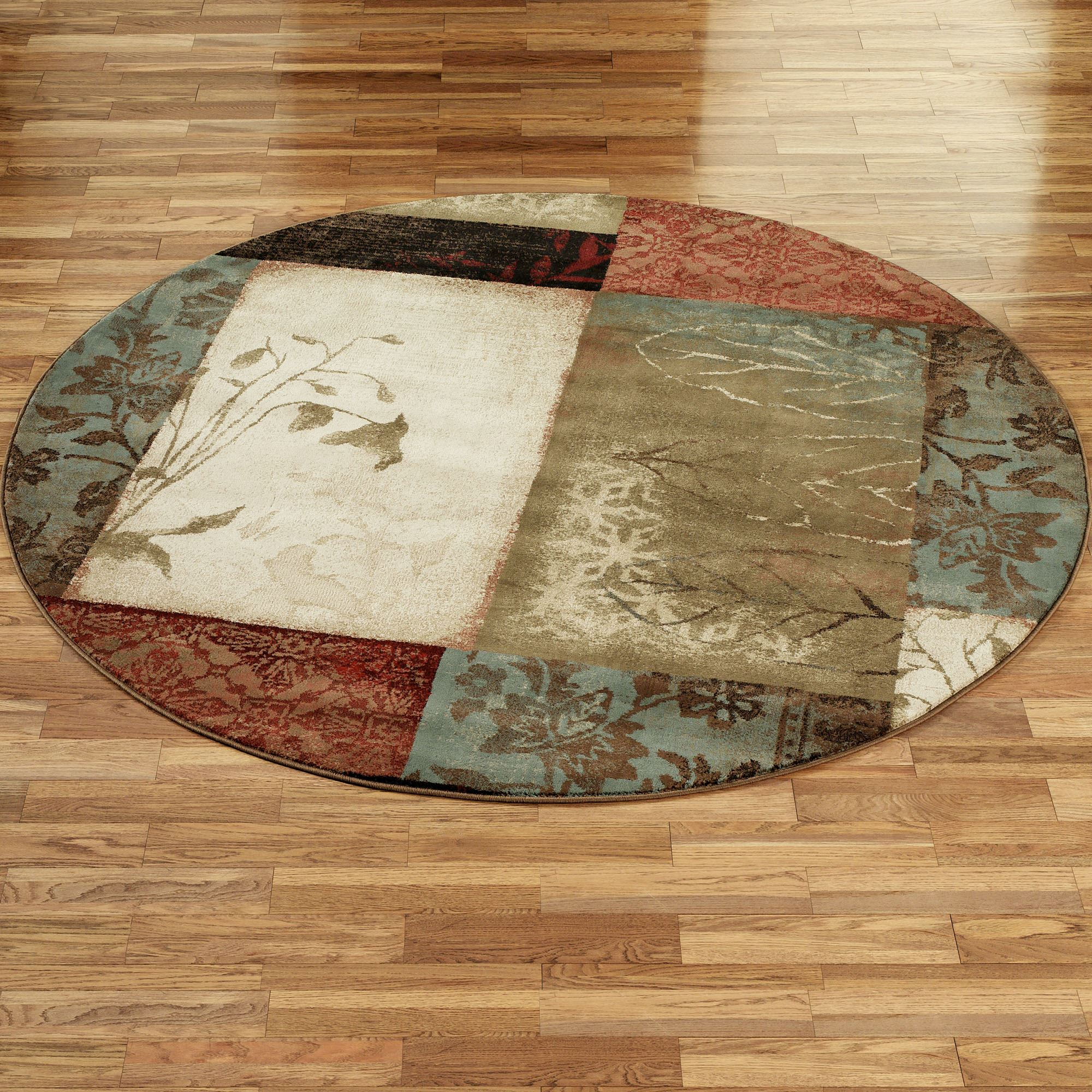 Impression Leaf Round Area Rugs