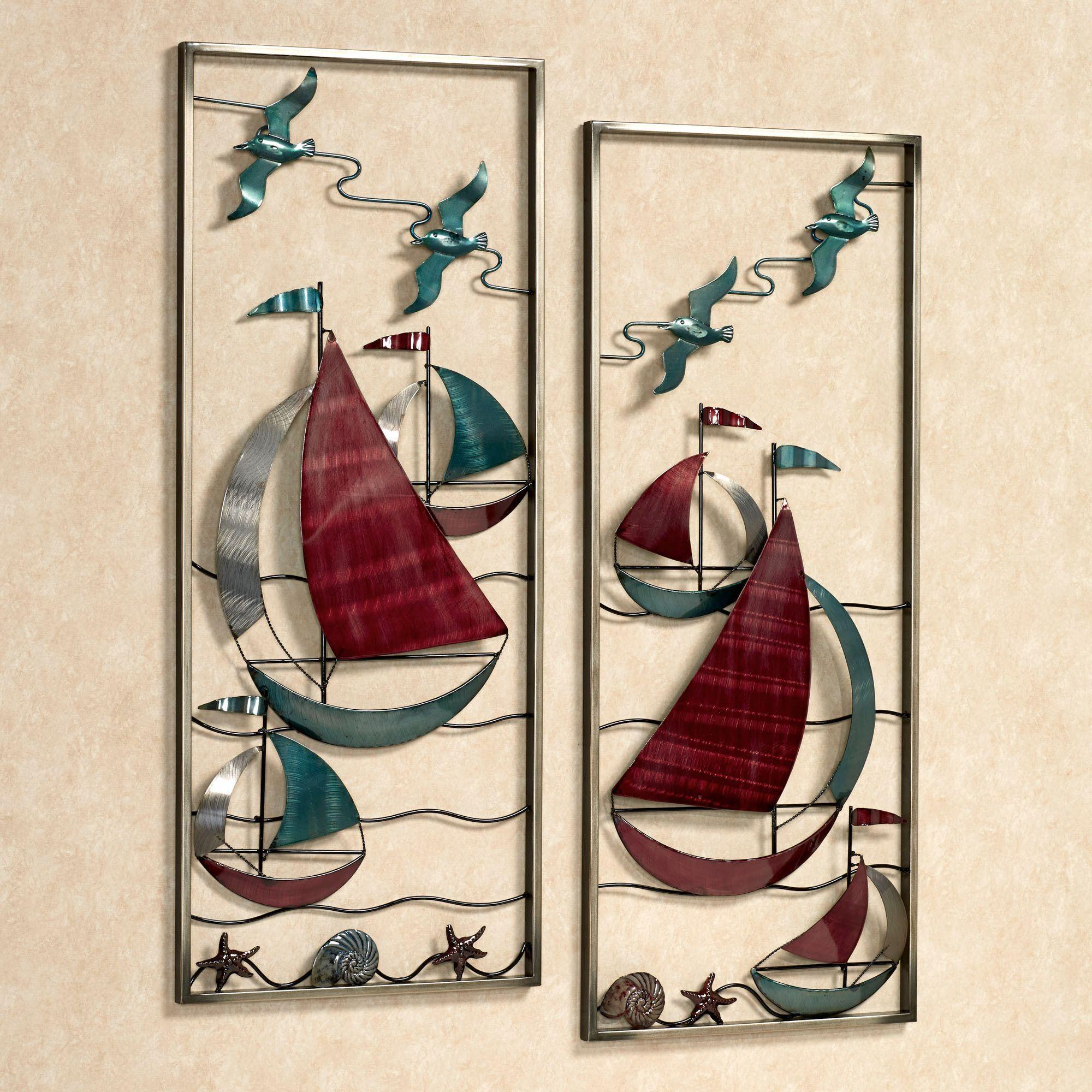 With The Sea Metal Sailboat Wall Art Panel Set