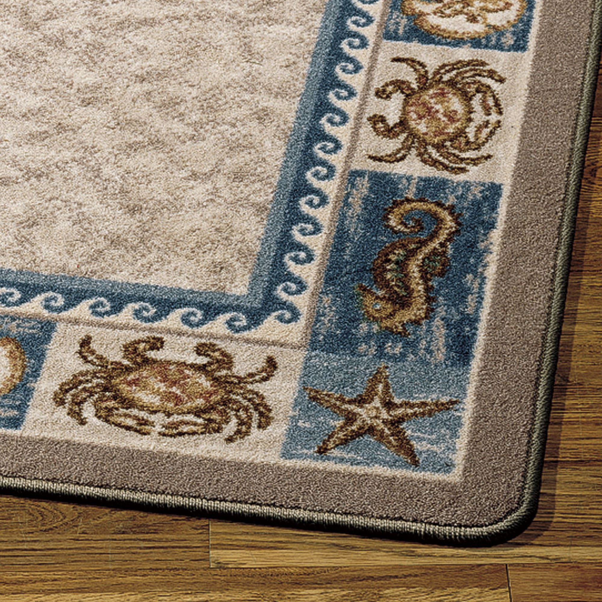 Sea Life Rug Runner Blue 21 X 78