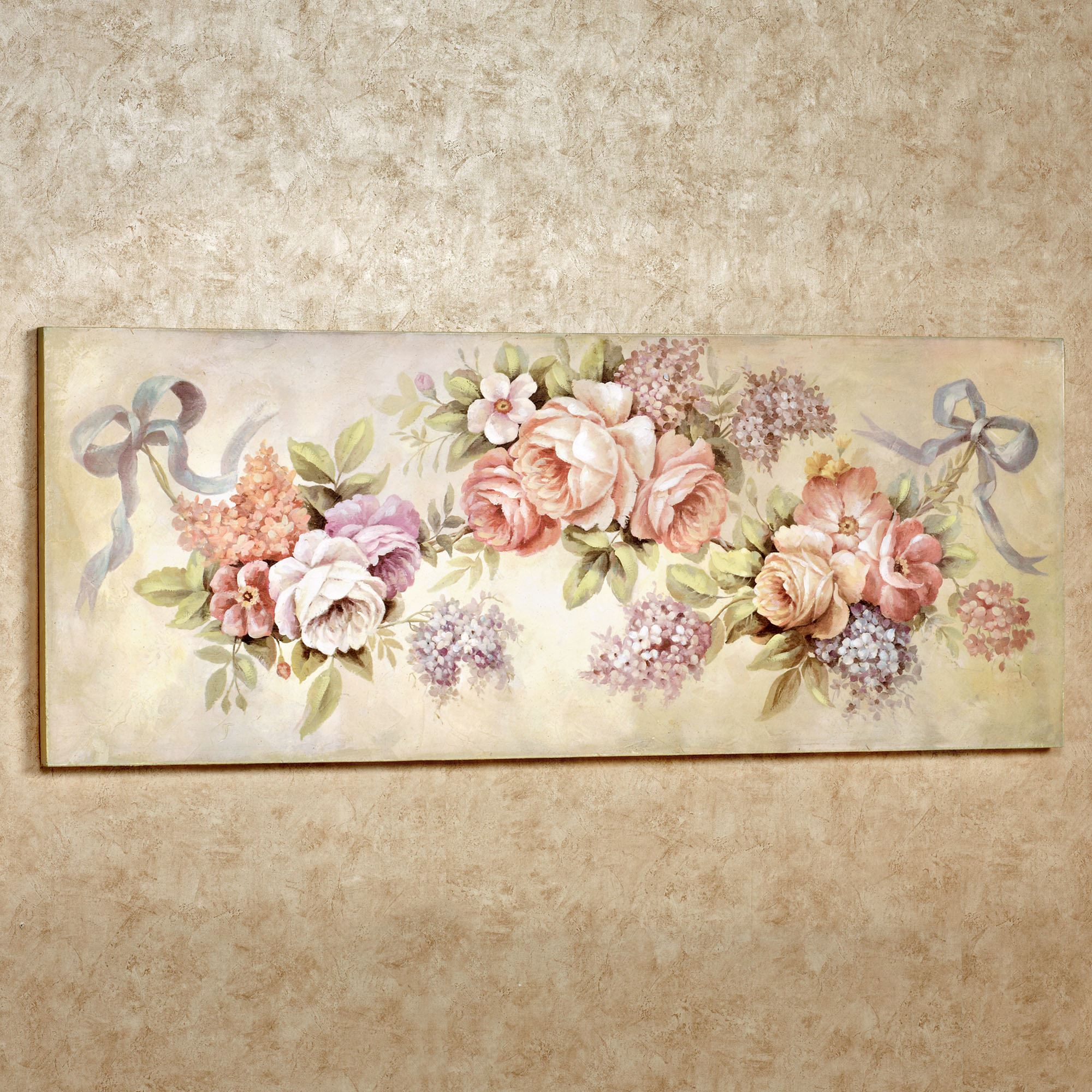 Floral Swag Wooden Wall Art Plaque