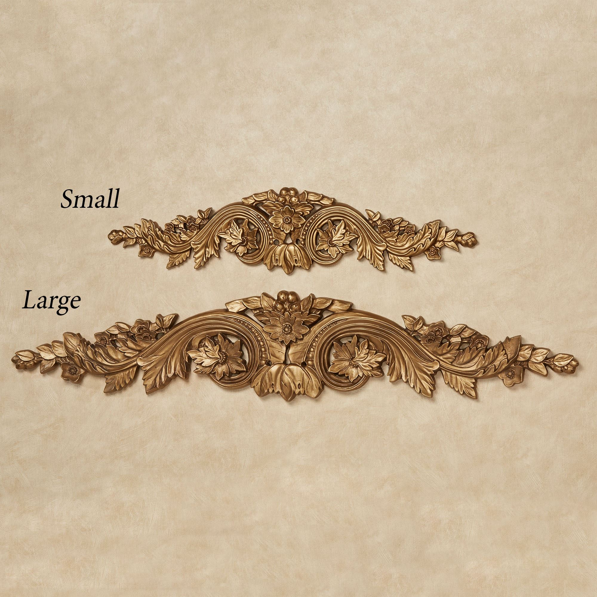 Flowering Medallion Aged Gold Decorative Wall Topper