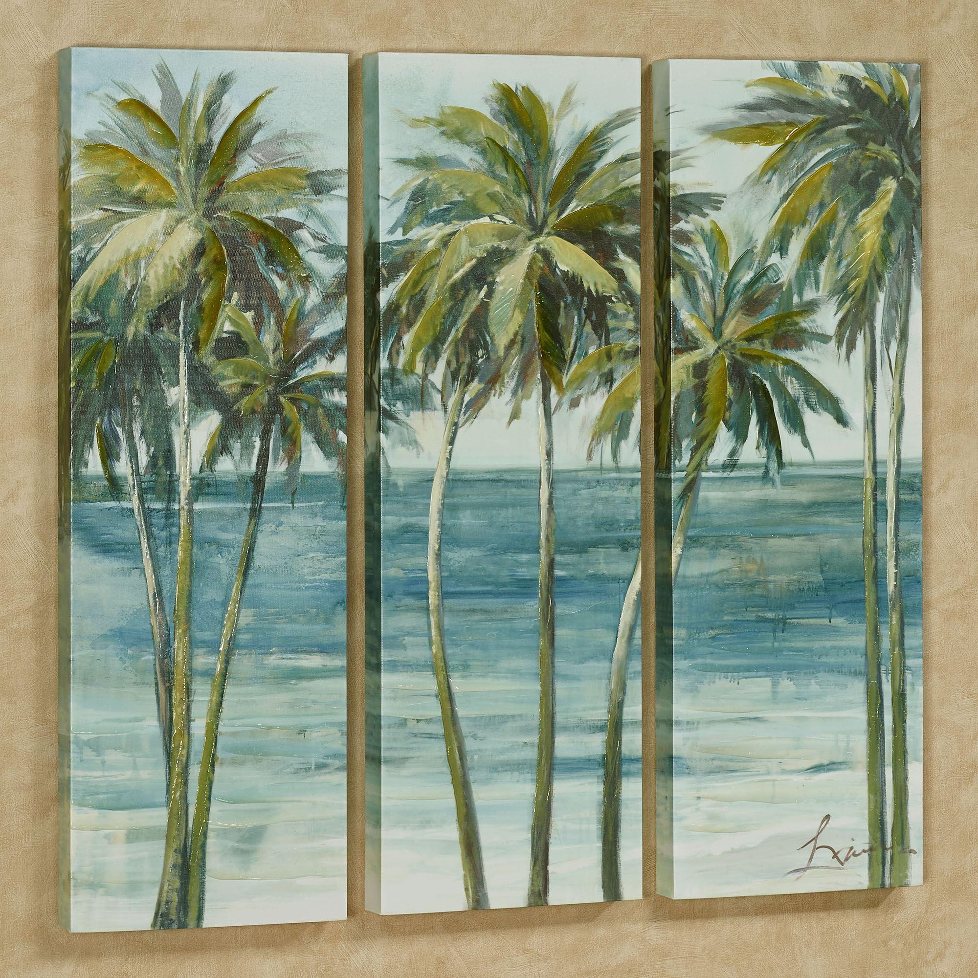 Tropical Bathroom Wall Decor: Tropical Getaway Palm Tree Triptych Canvas Wall Art Set
