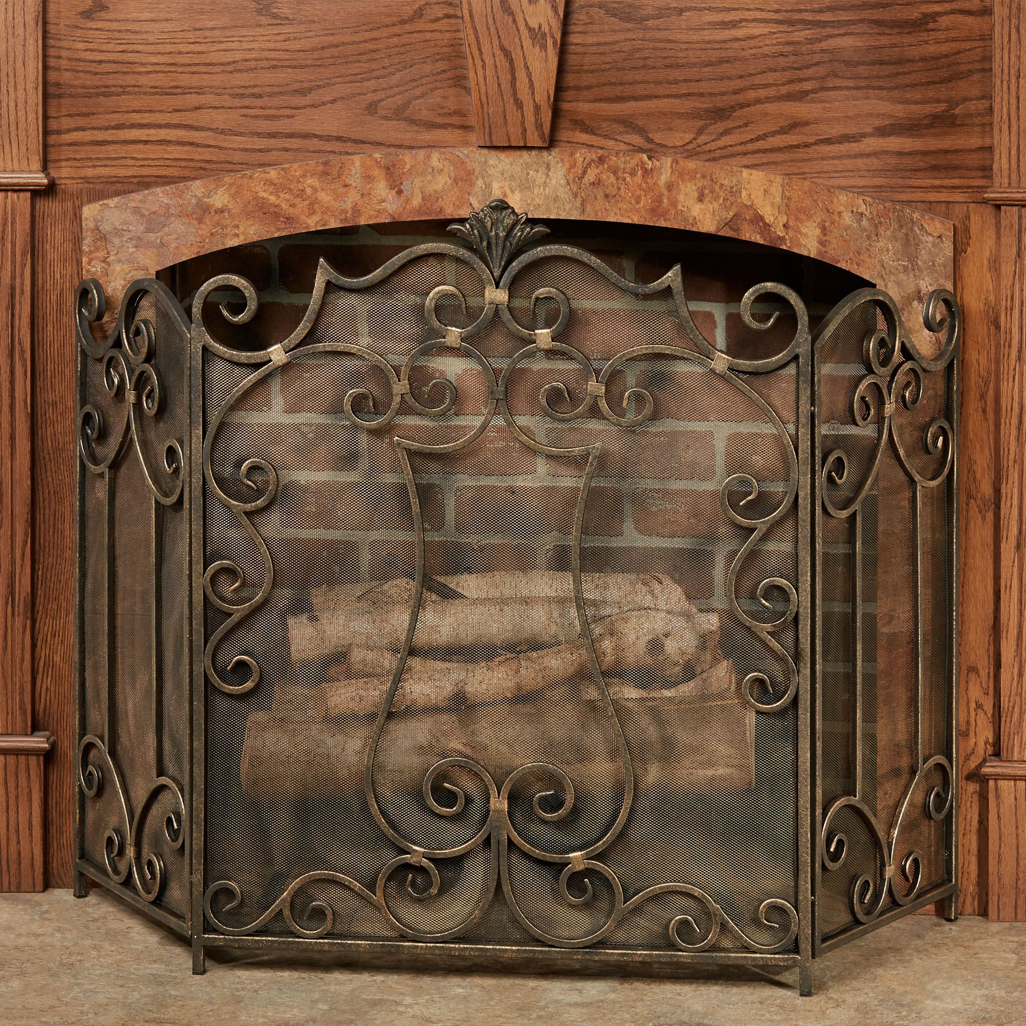 The exquisite detailing on the majestic Belleville Fireplace Screen brings old style elegance to your decor. Burnished silver/gold metal features a textured...