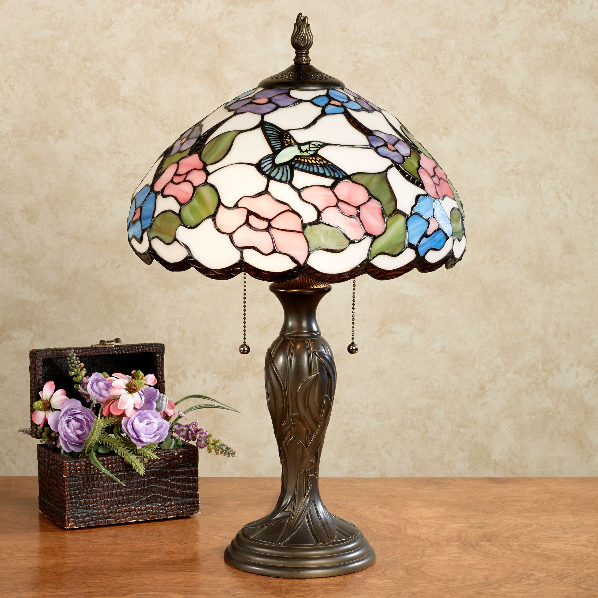 Sweet nectar hummingbird stained glass table lamp sweet nectar stained glass table lamp multi pastel each with cfl bulb touch to zoom aloadofball Choice Image