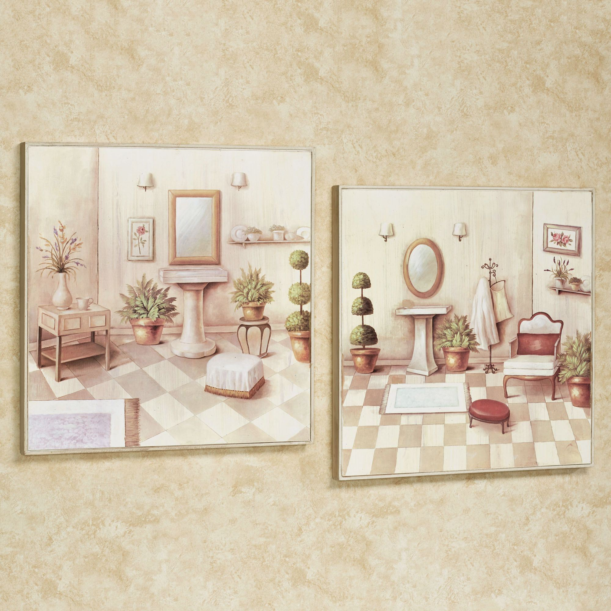 Soothing retreat bathroom scene wall art set for Paintings for bathroom decoration