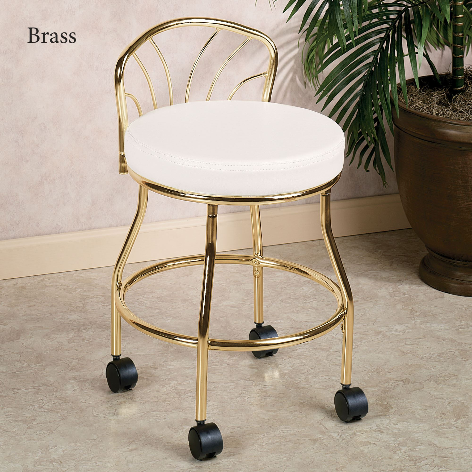 Flare Back Metallic Finish Vanity Chair With Casters - Bathroom vanity chairs with backs