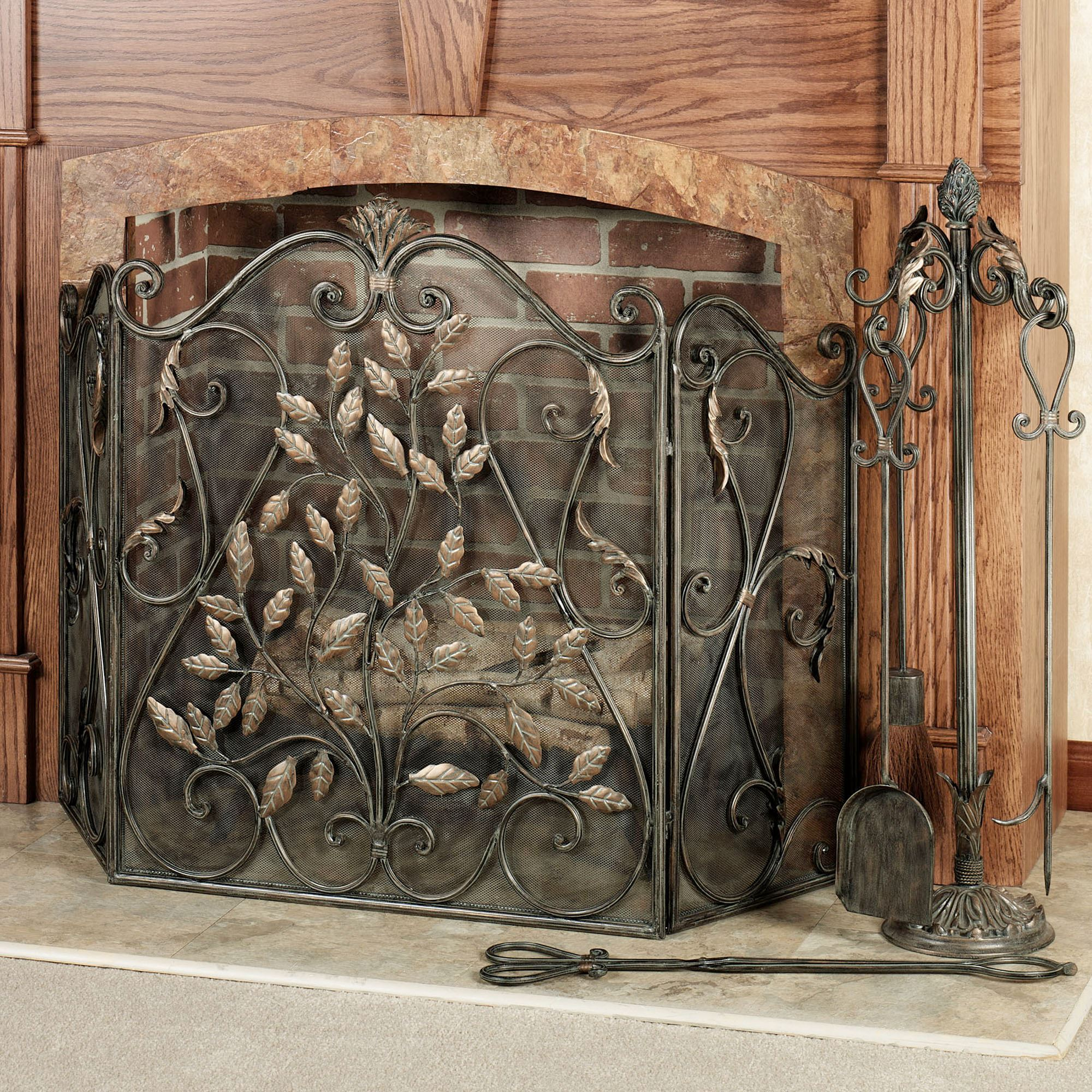 by handcrafted fire screen bronze wiederrick fireplace screens s scrolls elegant custom