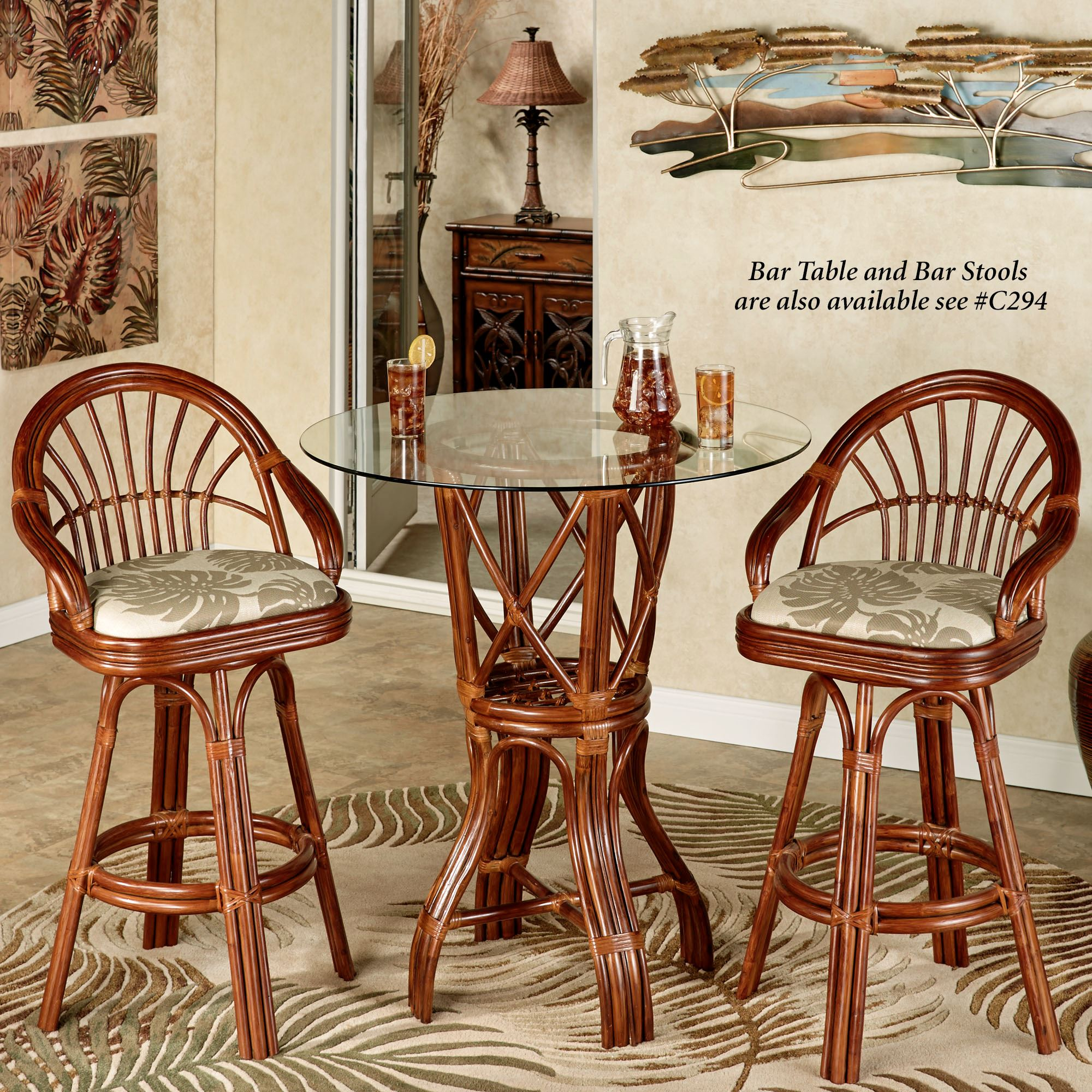 Kitchen Table With Rolling Chairs: Leikela Rattan Tropical Dining Furniture Set
