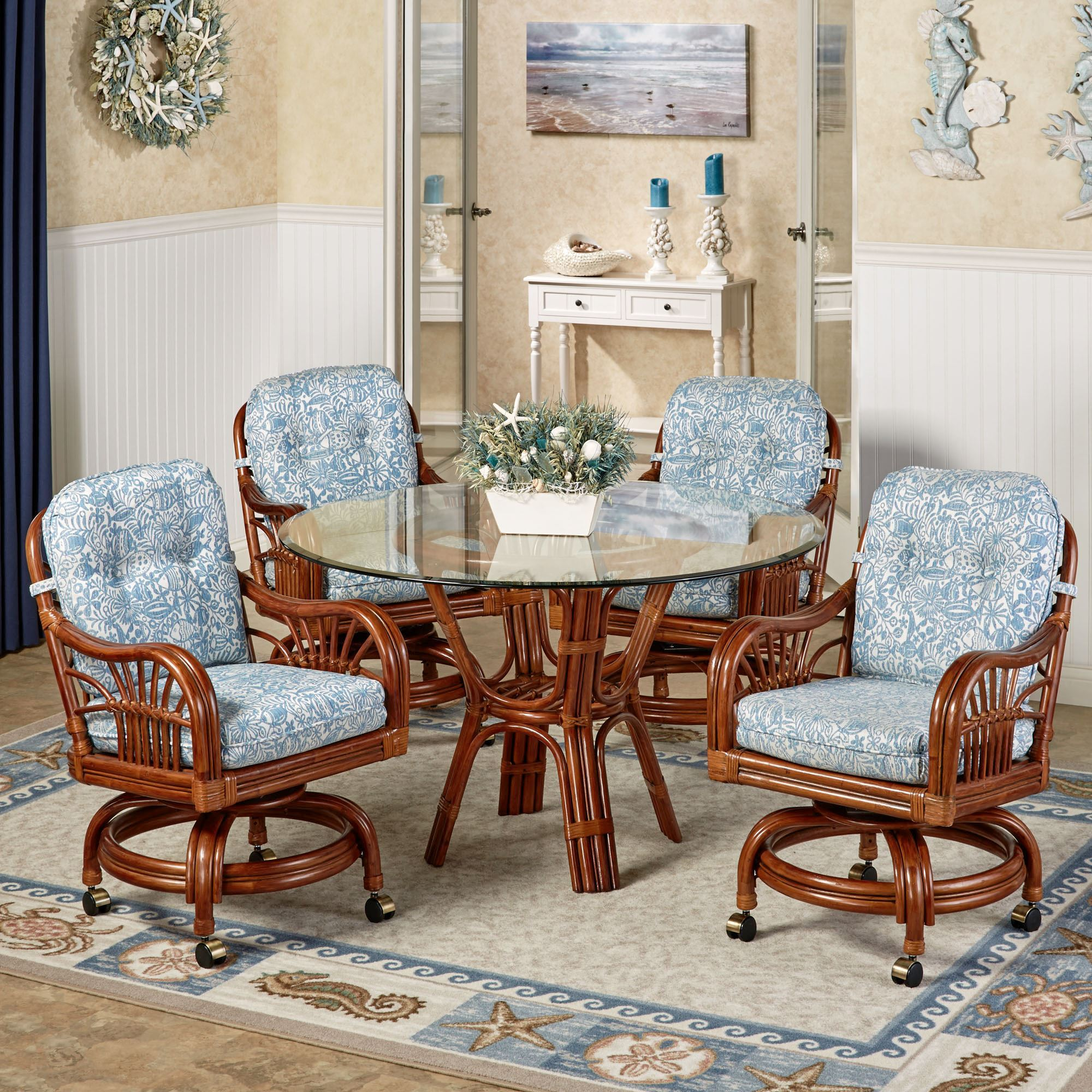 Genial Leikela Round Dining Table With Caster Chairs Malibu Seaside Round Set Of  Five
