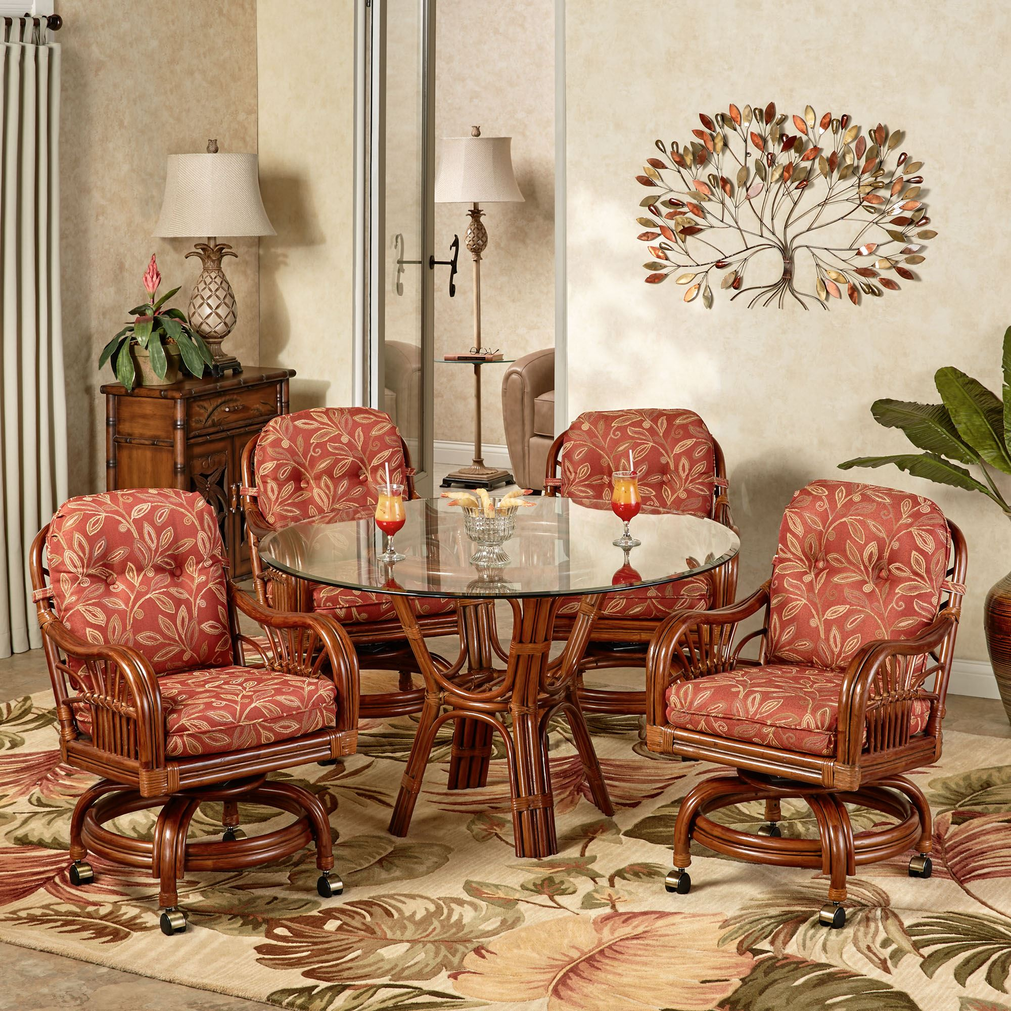 Overview. The Leikela Papaya Medley Castered Tropical Dining Furniture ...