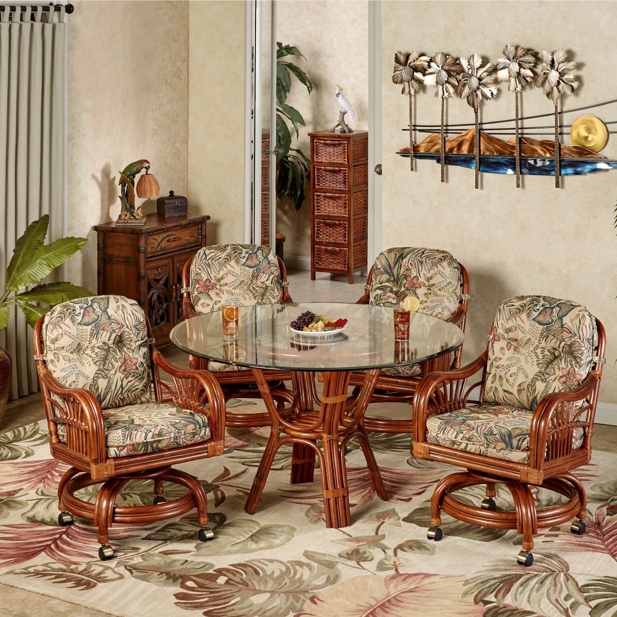 Attrayant Leikela Round Dining Table With Caster Chairs Rain Forest Round Set Of Five