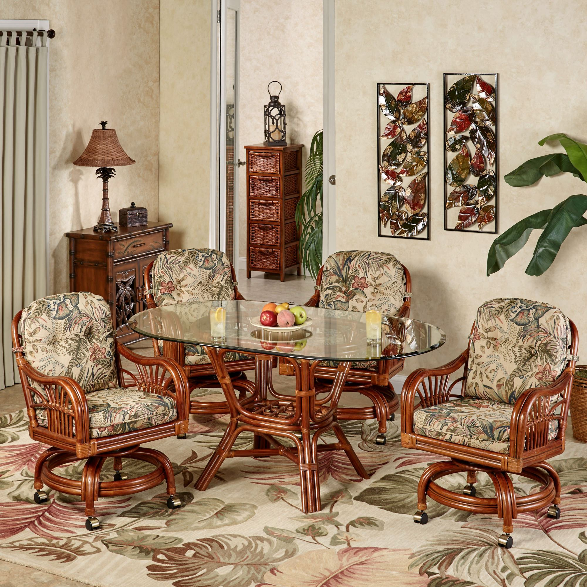 Leikela Oval Dining Table with Caster Chairs Rain Forest Oval Set of Five & Leikela Rain Forest Tropical Dining Furniture Set