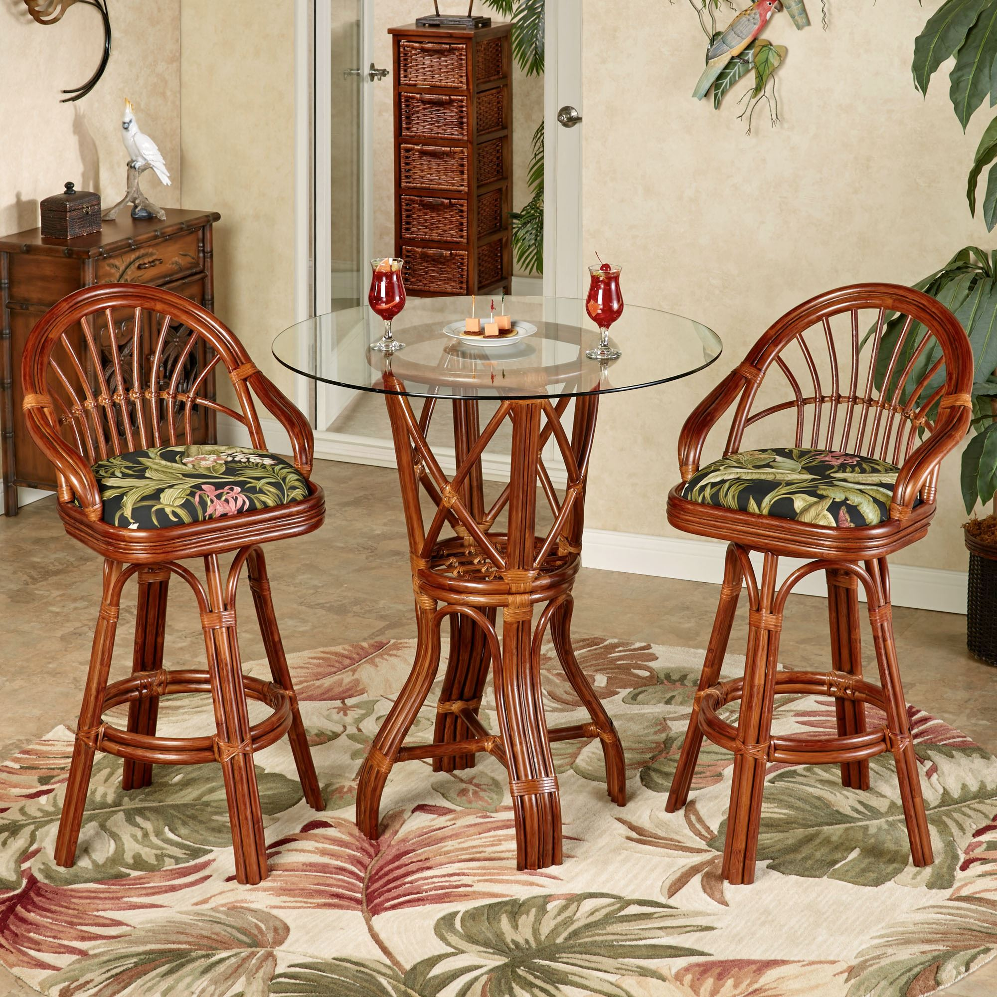 Leikela Bar Table with Two Stools Wailea Coast Set of Three & Leikela Wailea Coast Tropical Bistro Furniture Set