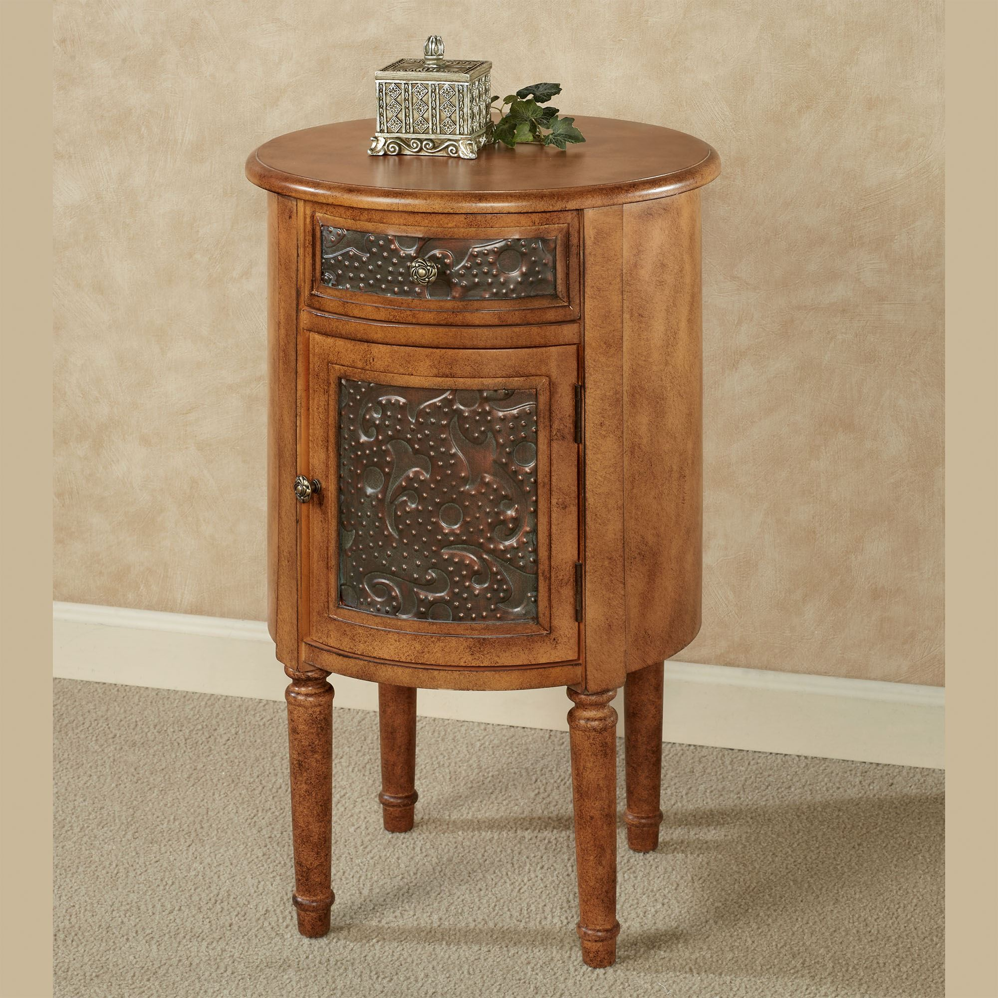 - Lombardy Round Storage Accent Table