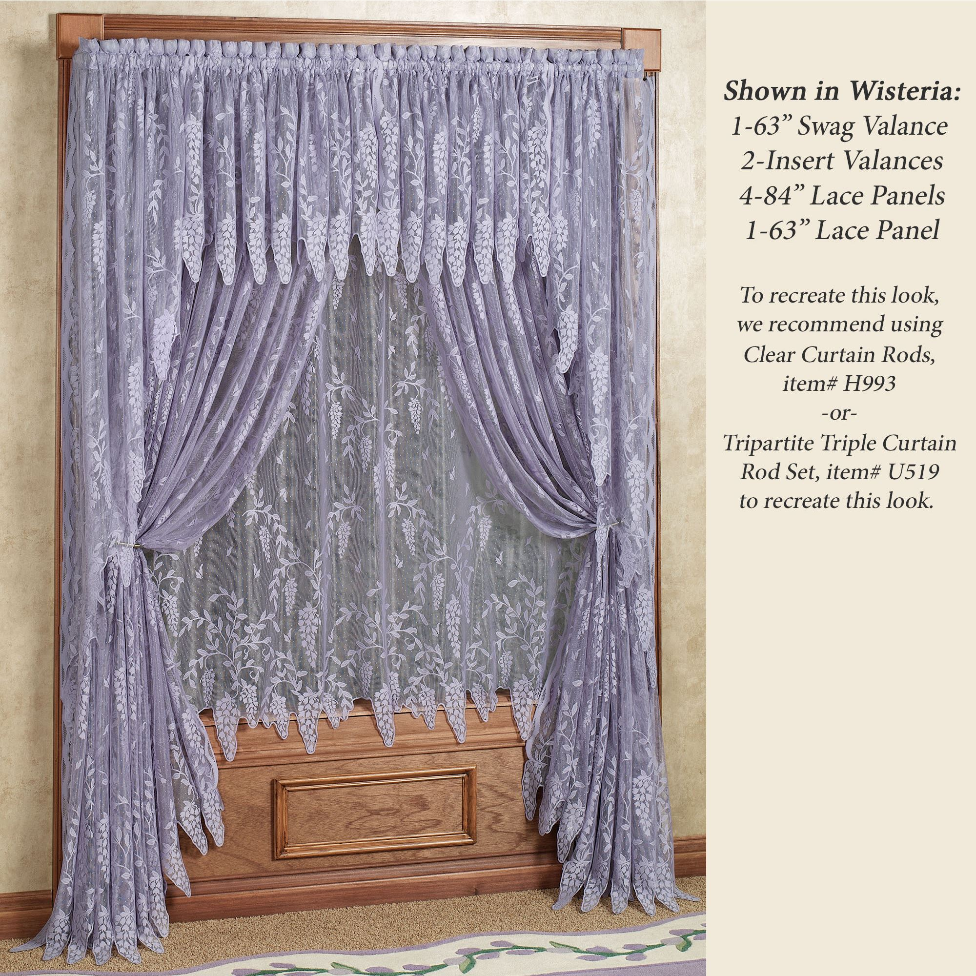 damask silver with gray lilac and purple accent rod valance trim carousel valances window large pocket