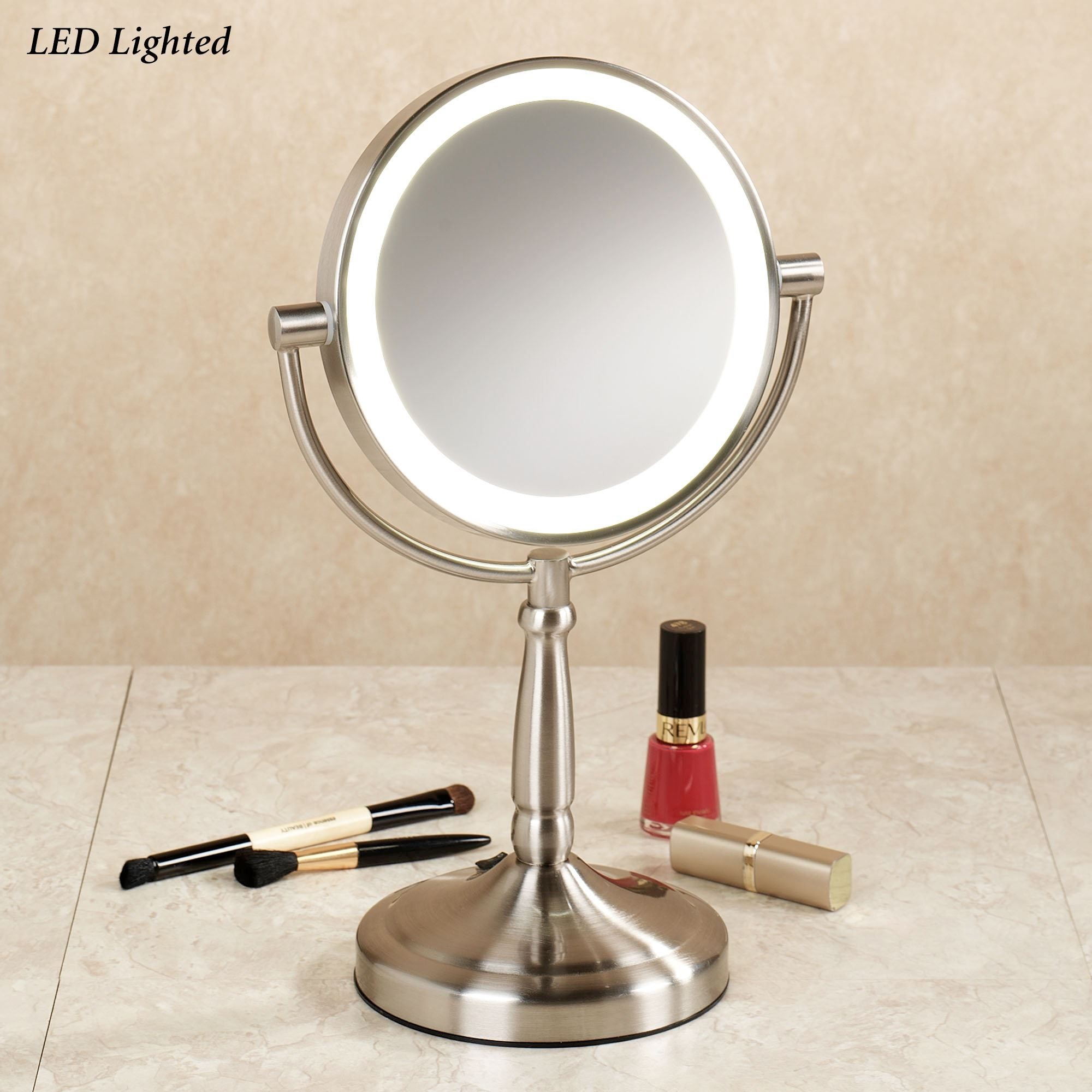 Cordless Led Vanity Mirror Satin Nickel Touch To Zoom