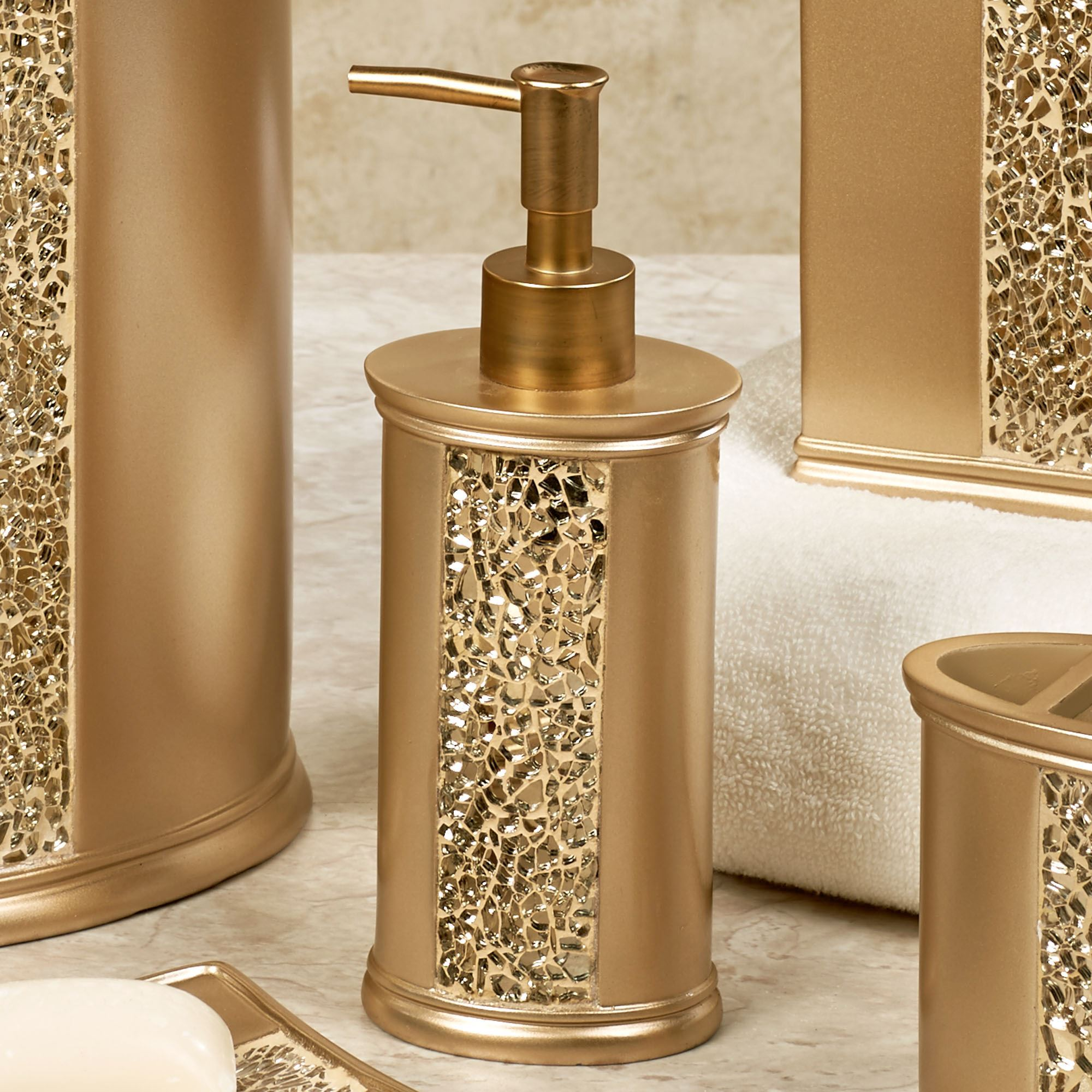 very gold mosaic bathroom accessories. Prestigue Lotion Soap Dispenser Champagne Gold Mosaic Bath Accents