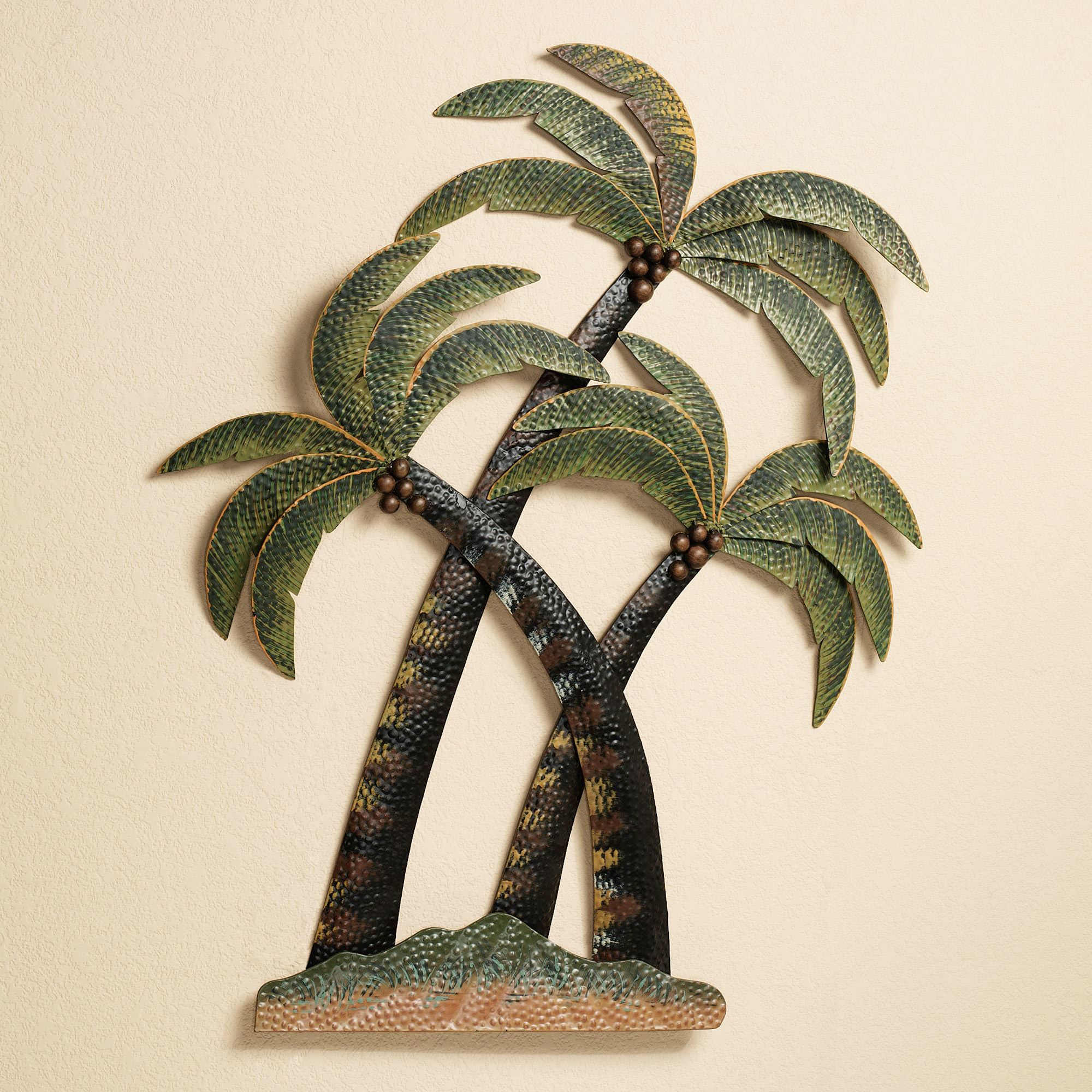Coco palm tree metal wall sculpture for Bronze wall art