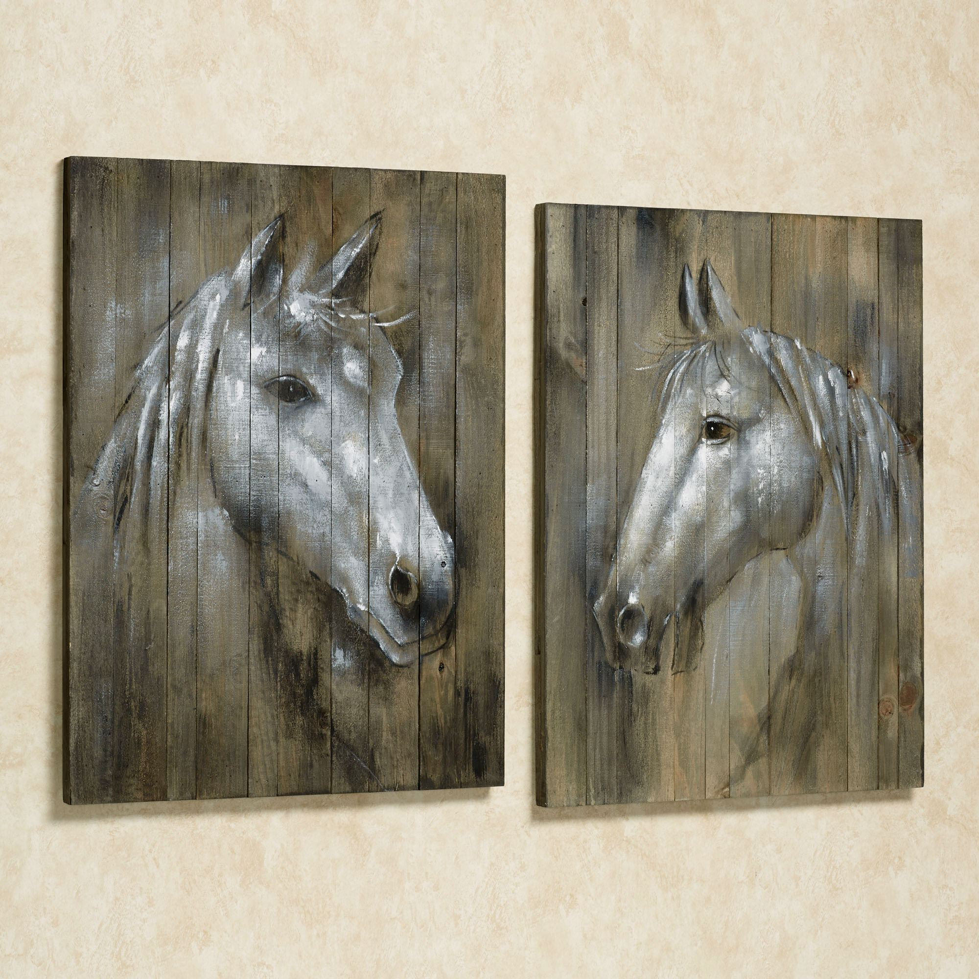 Click to expand & Rustic Horses Wall Art Plaque Set