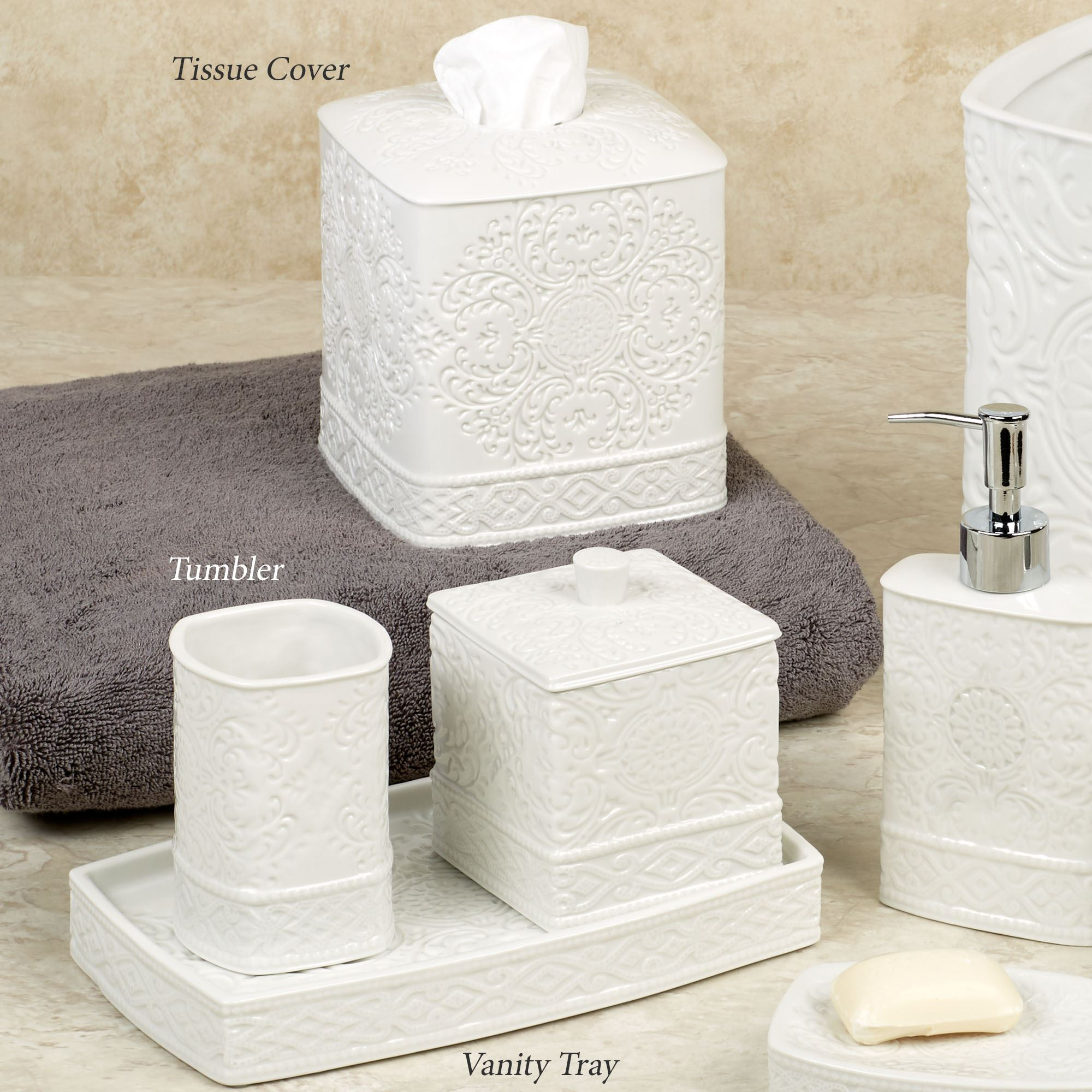 Damask Ivory Porcelain Bath Accessories. Damask Lotion Soap Dispenser  Ivory. Click To Expand