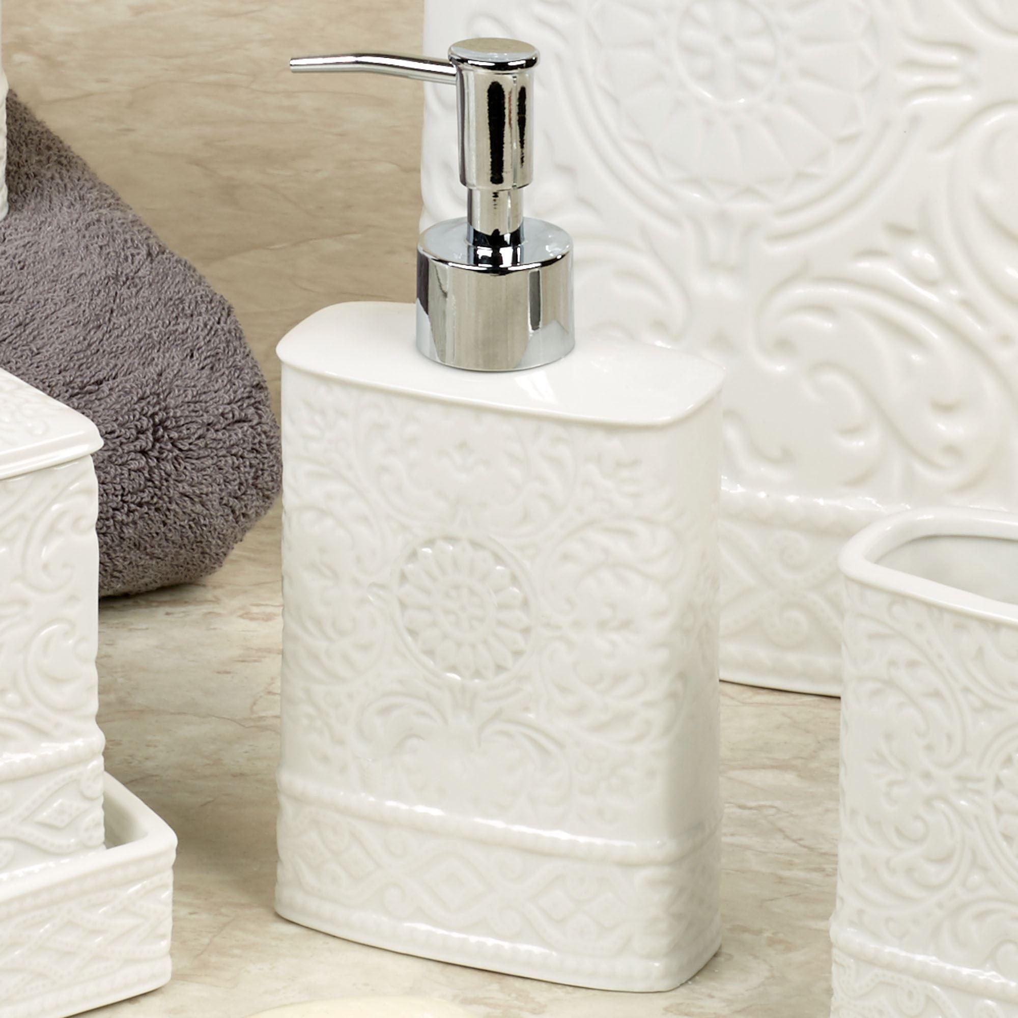 Damask Ivory Porcelain Bath Accessories