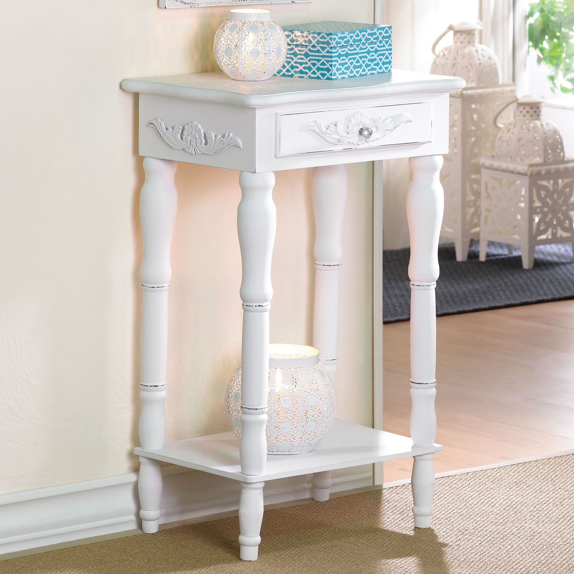 bathroom accent furniture. Cosenza Antique White Accent Table. Click To Expand Bathroom Furniture