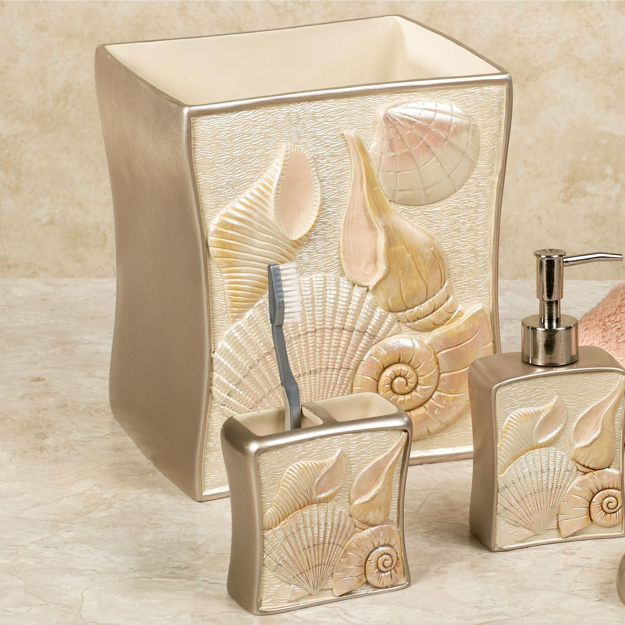 Sea Shell Wastebasket Champagne