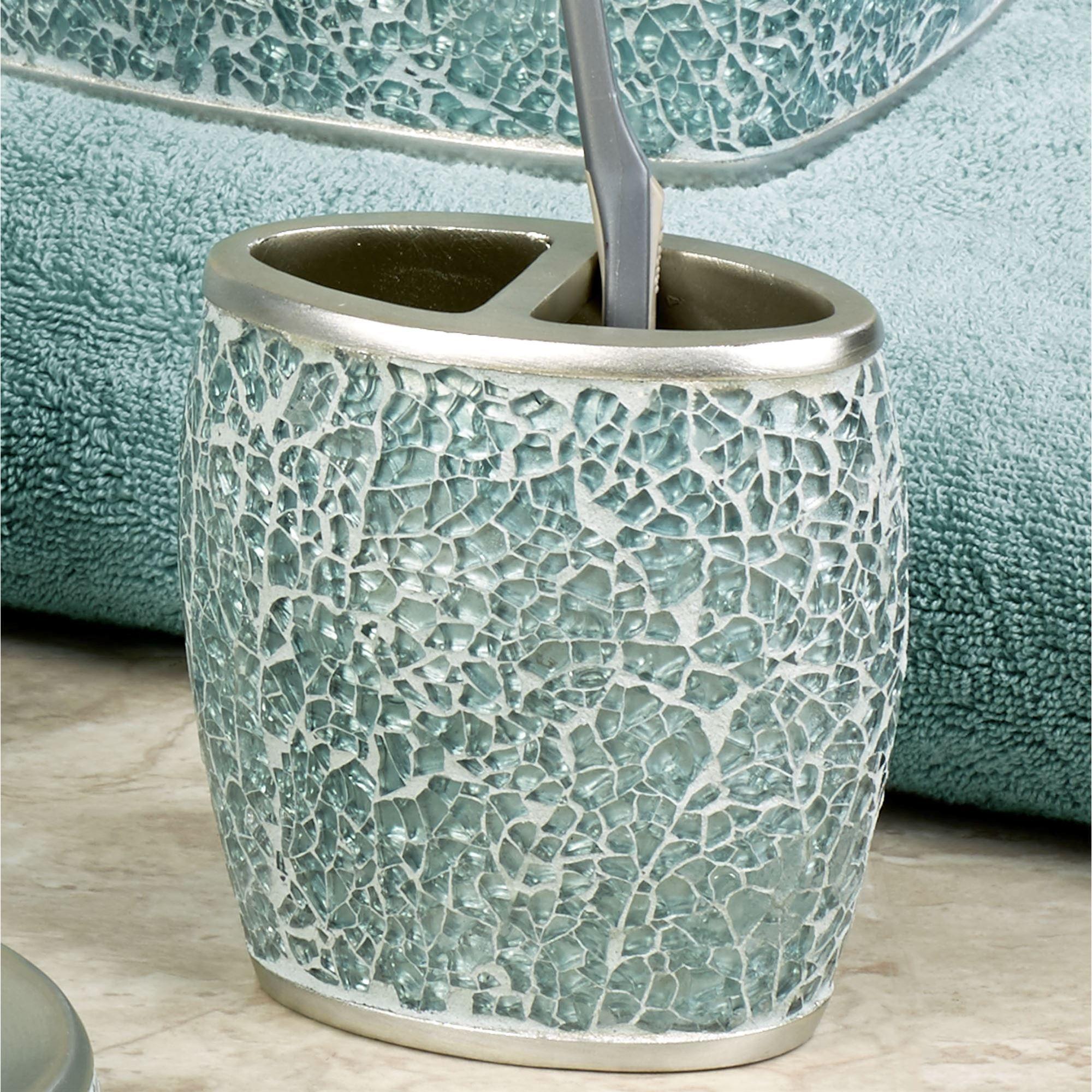 Calm waters light aqua mosaic bath accessories for Bath accessories holder