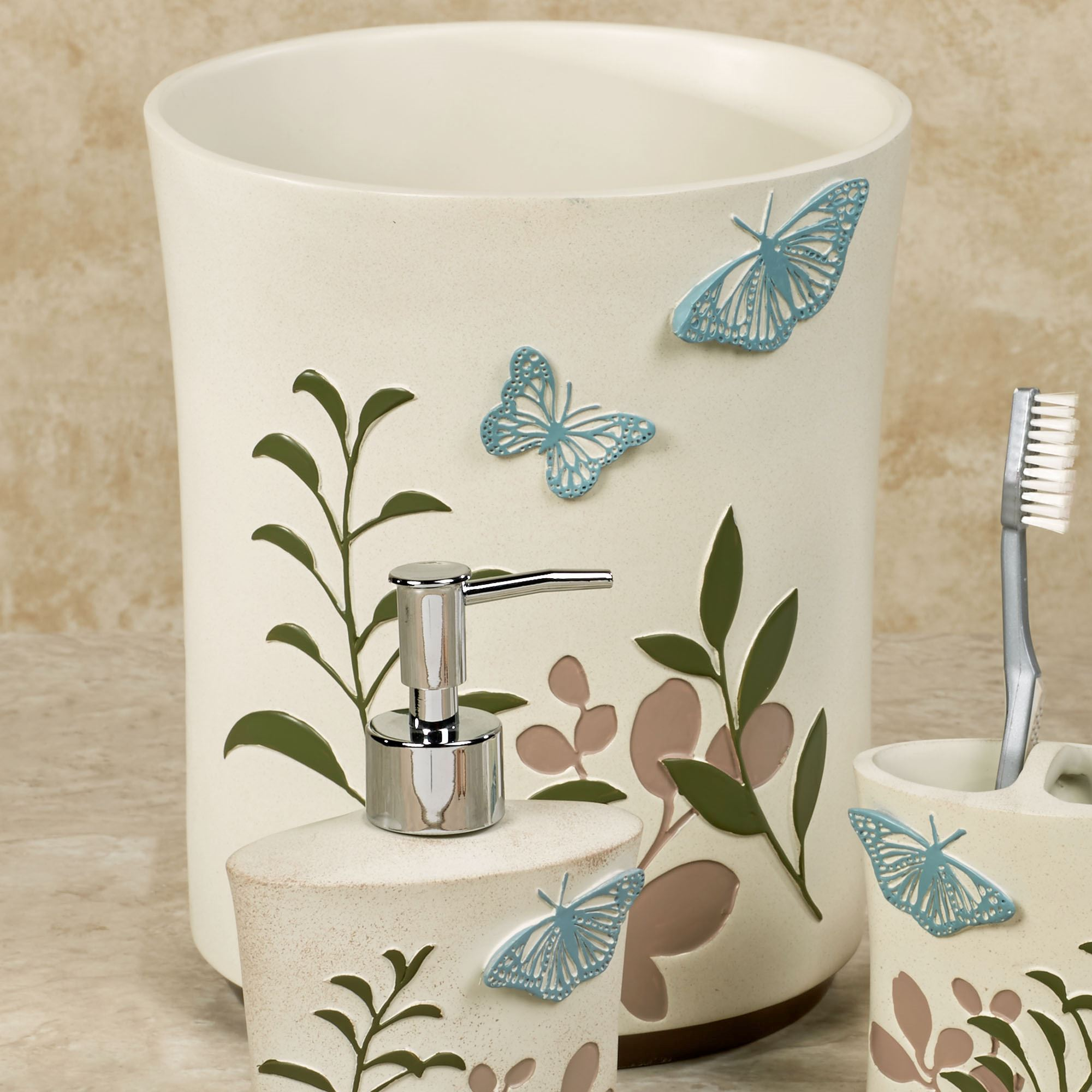 Fluttering Butterfly Bath Accessories Rh Touchofclass Com Butterfly  Bathroom Accessories Sets Butterfly Bathroom Accessories And Wall