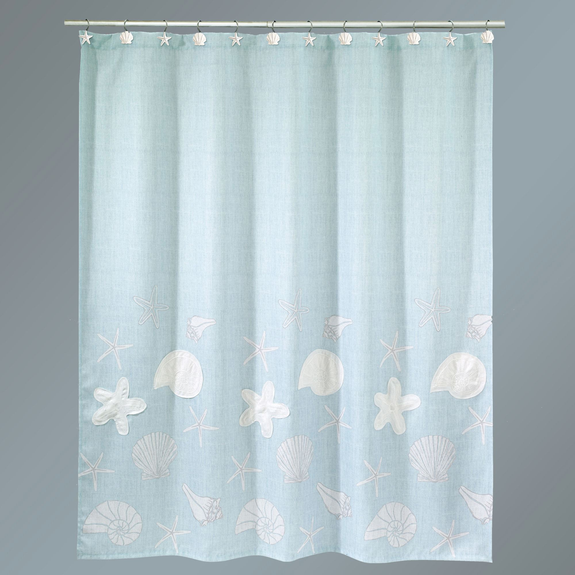 Sequin Shells Shower Curtain Pale Aqua 72 X