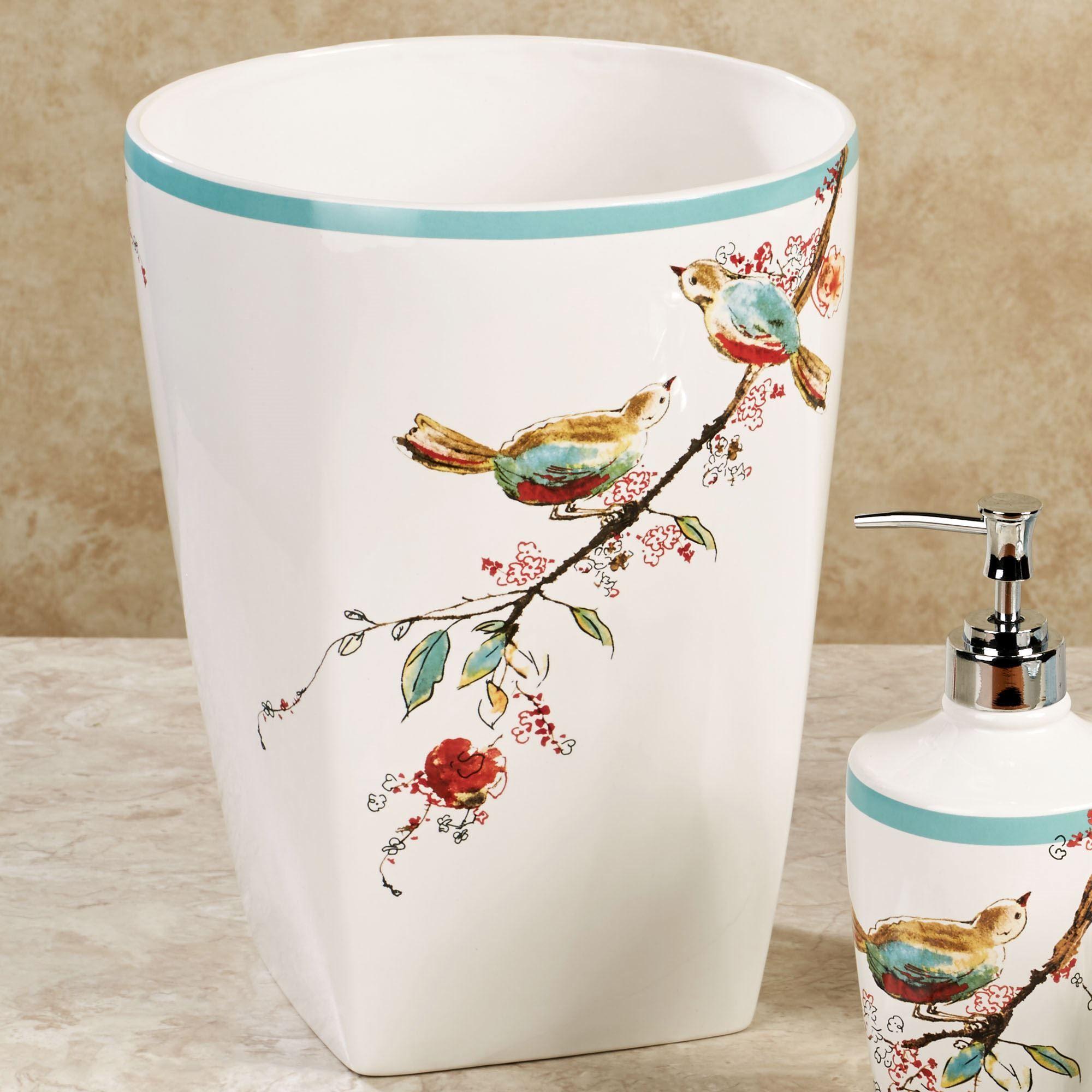 Lenox Chirp Wastebasket White Lenox Simply Fine Bath Accessories Chirp Shower Curtain Best