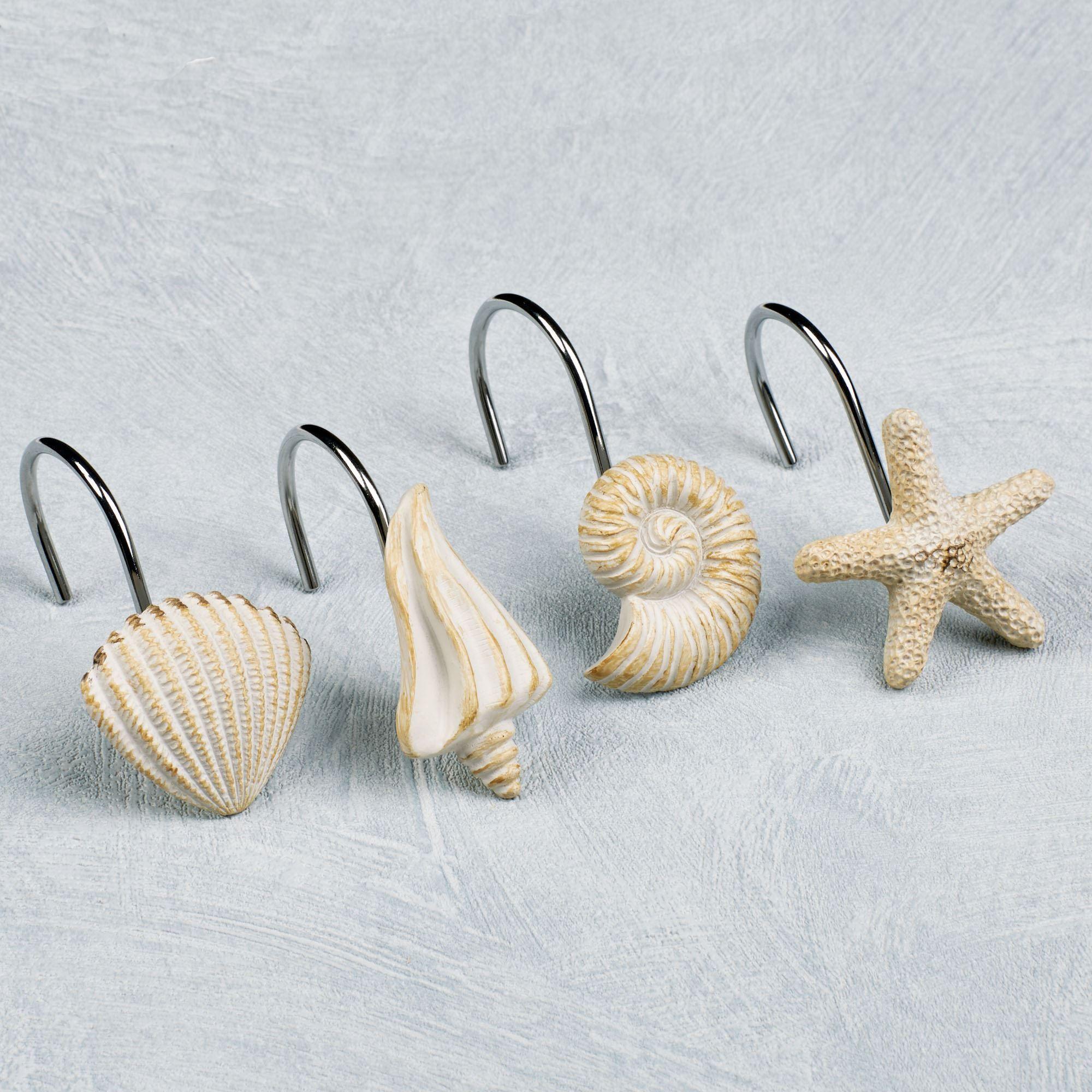High Quality Seashore Shower Hooks Cream Set Of Twelve