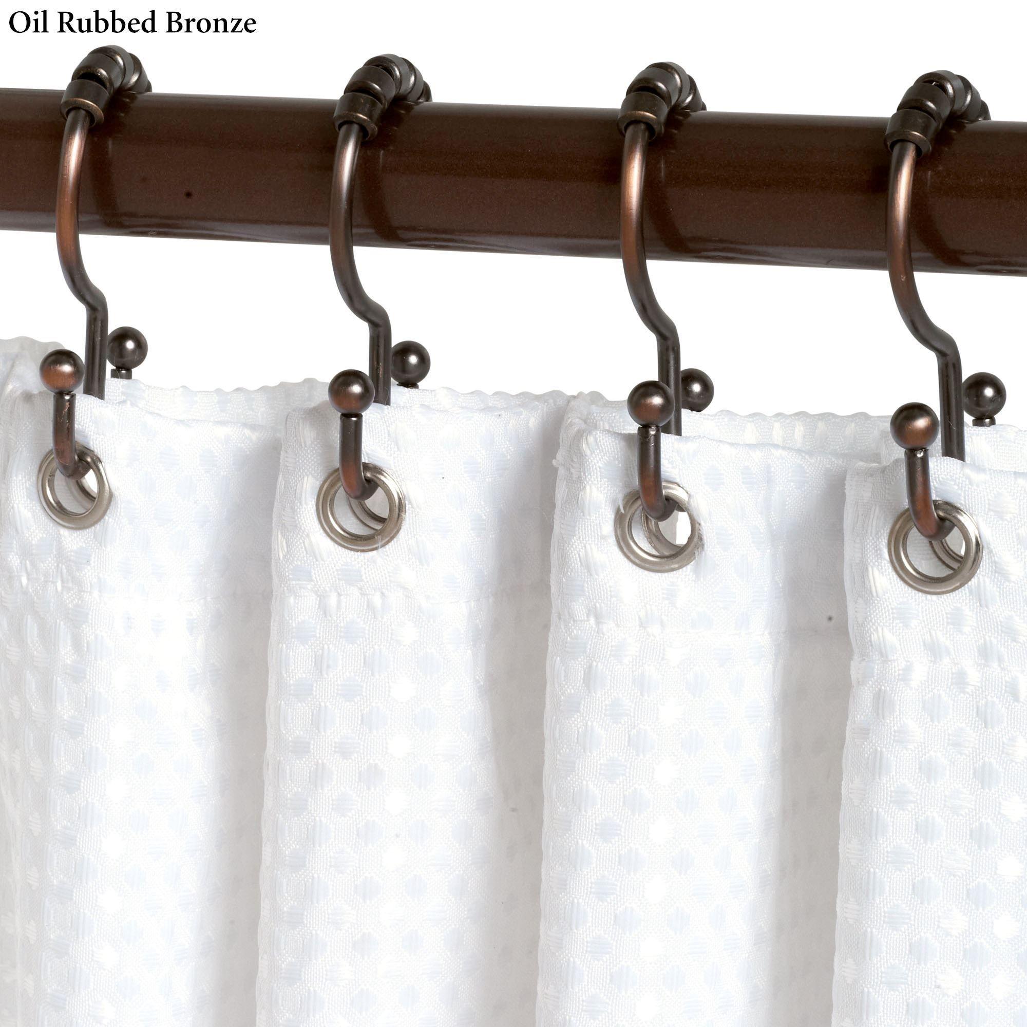 Double Roller Shower Curtain Hook Set