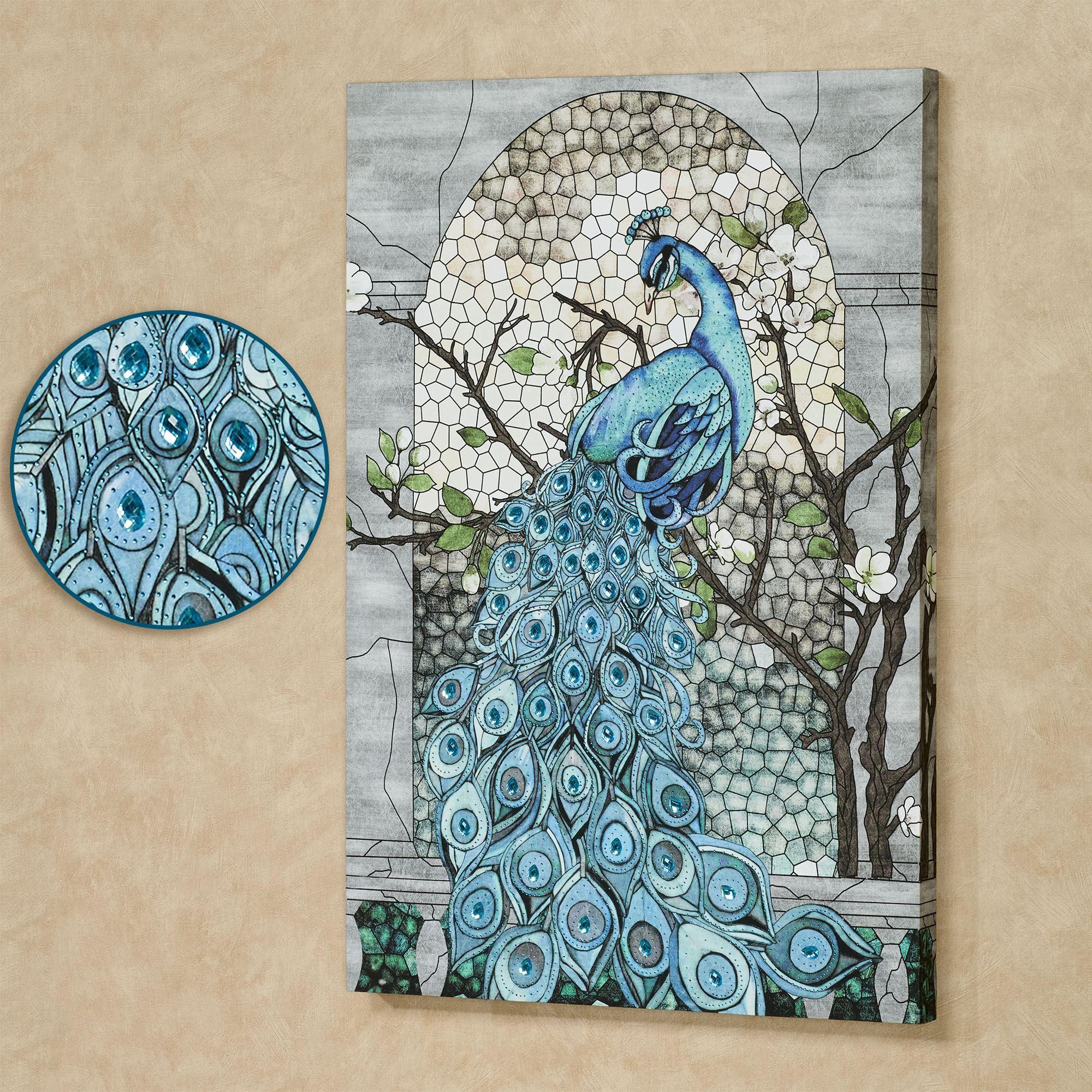 Jeweled Blue Peacock Canvas Wall Art