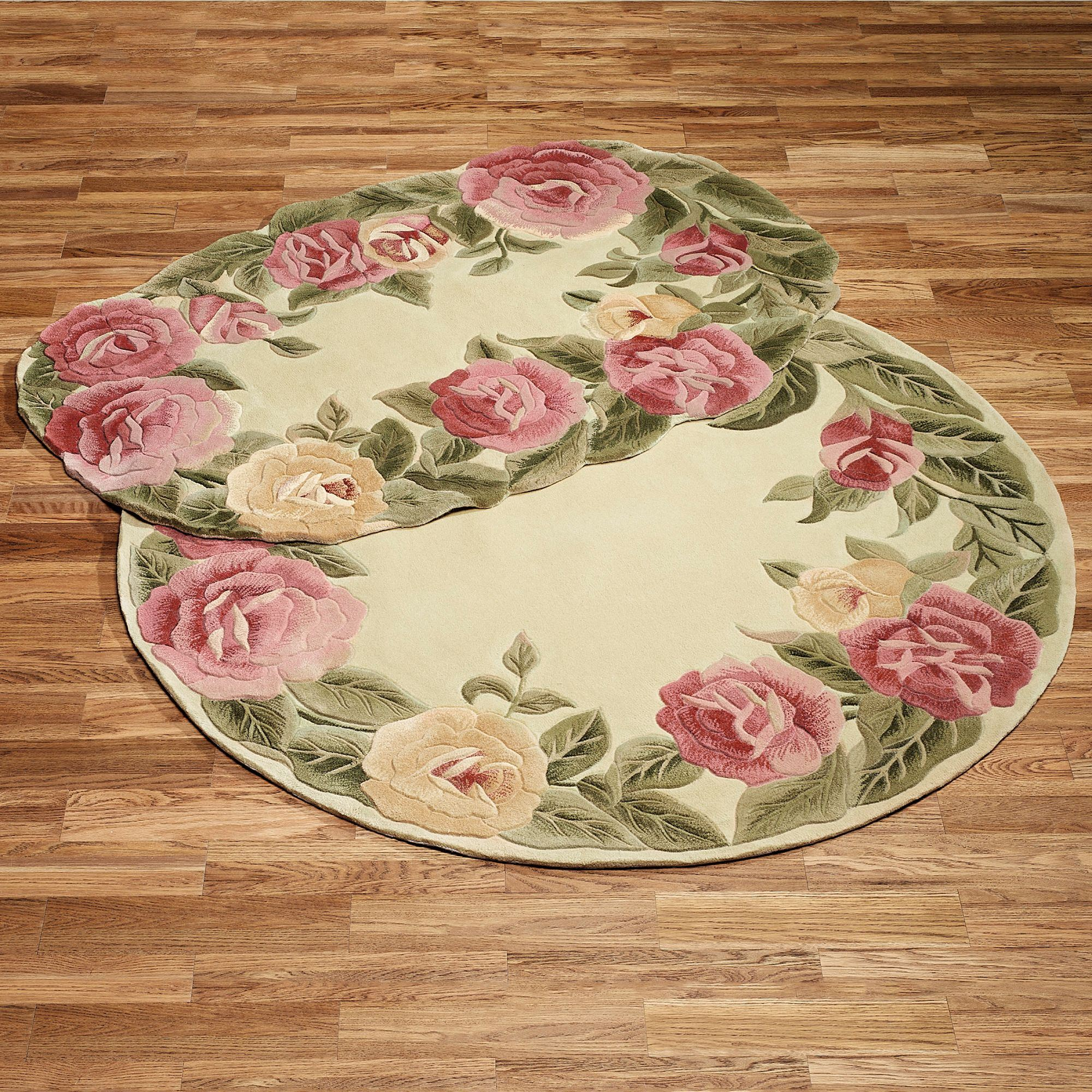 roses oval rug