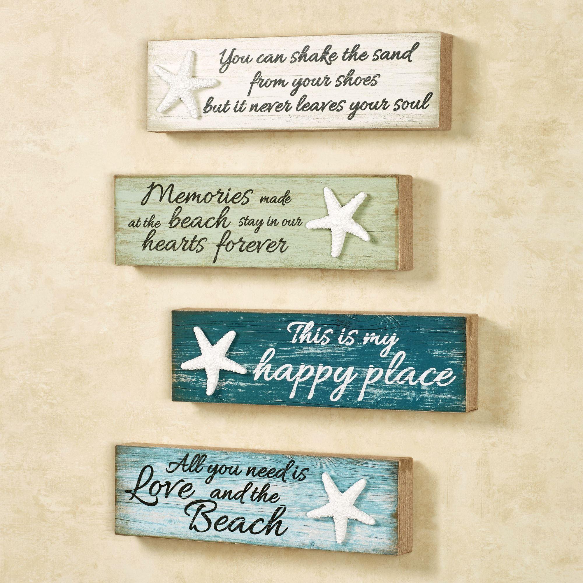 beach memories wooden wall plaque set