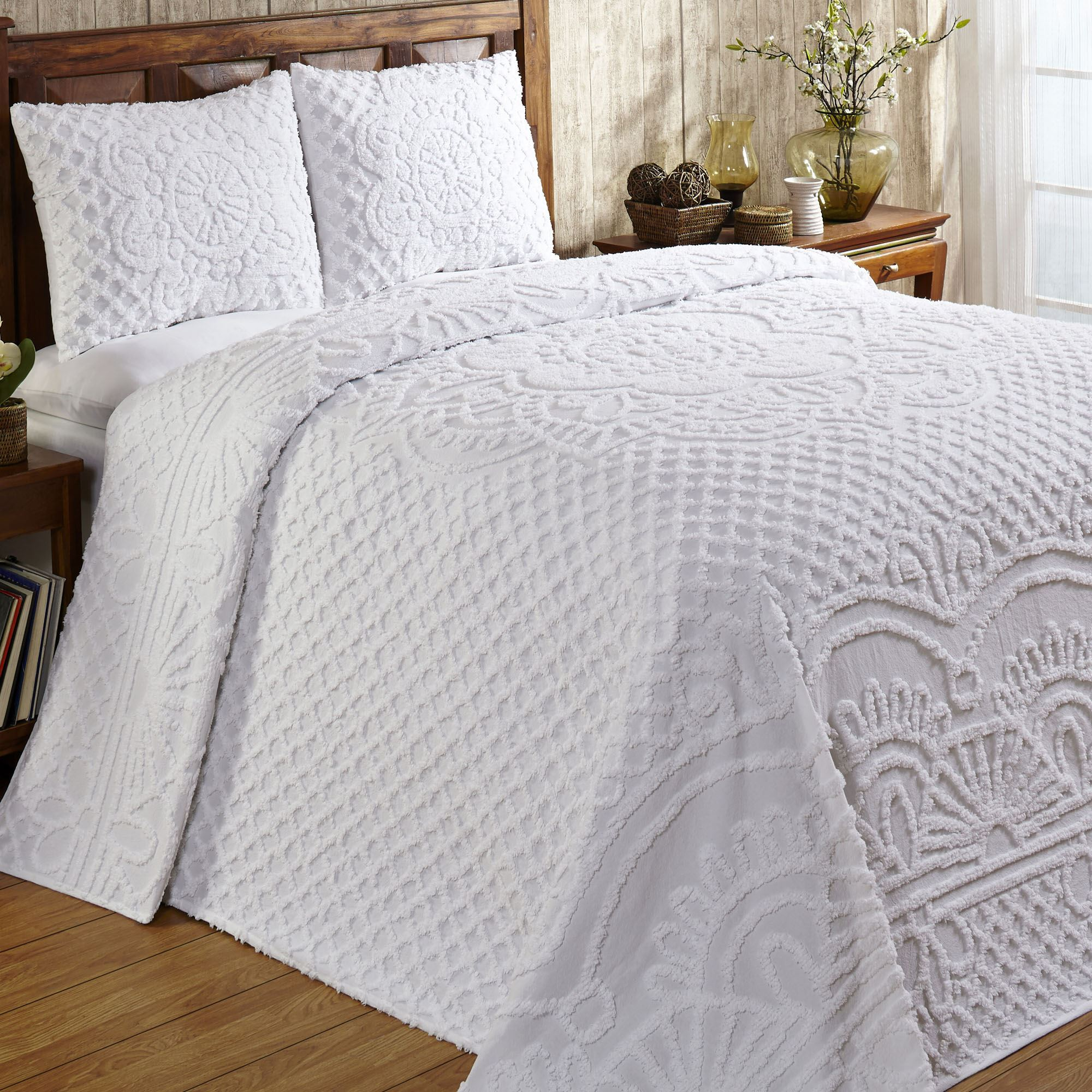 Trevor White or Ivory Lightweight Cotton Chenille Bedspread Set