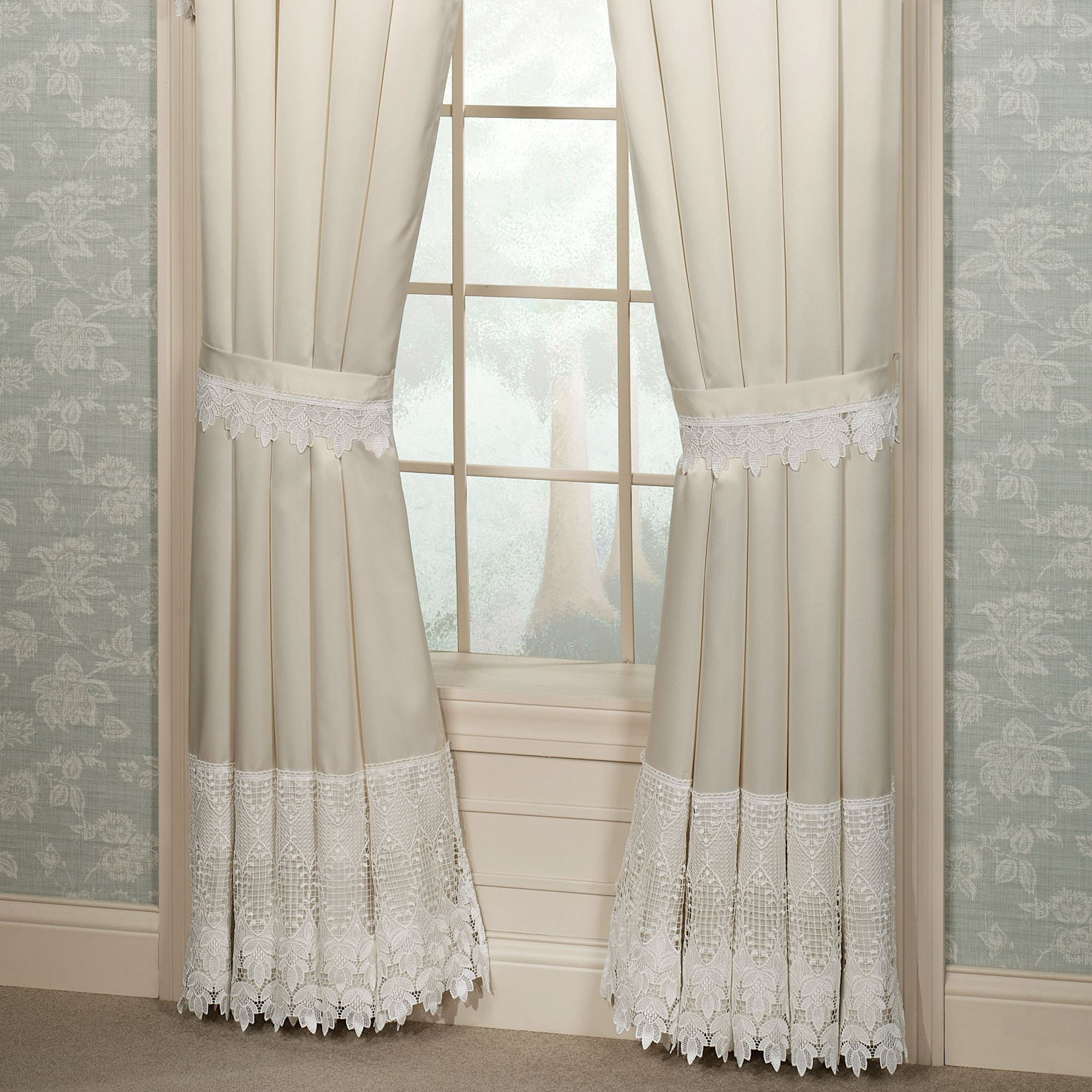 Trousseau Lace Tailored Curtain Pair