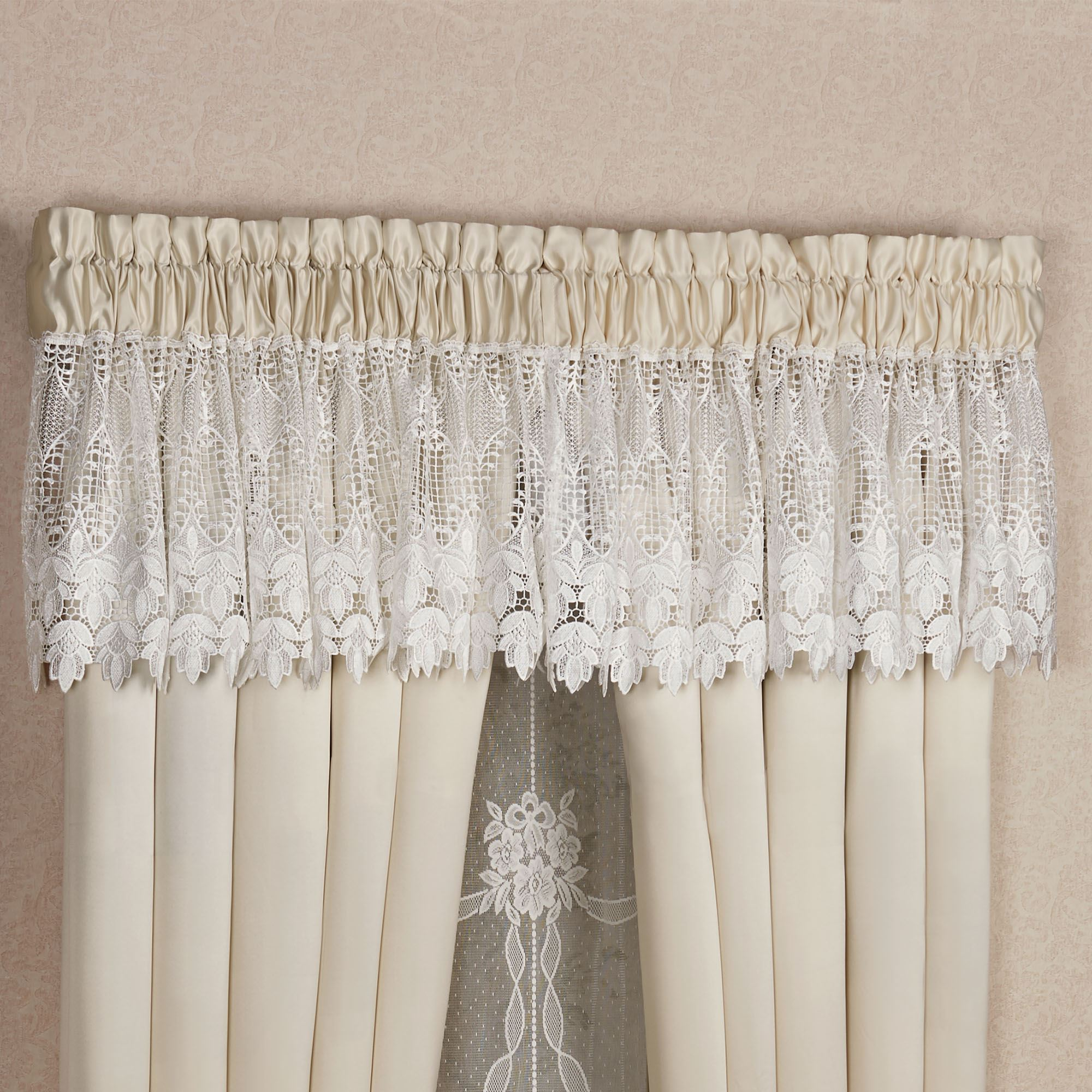 curtain tailored valance p rochelle window panel treatment x lace new