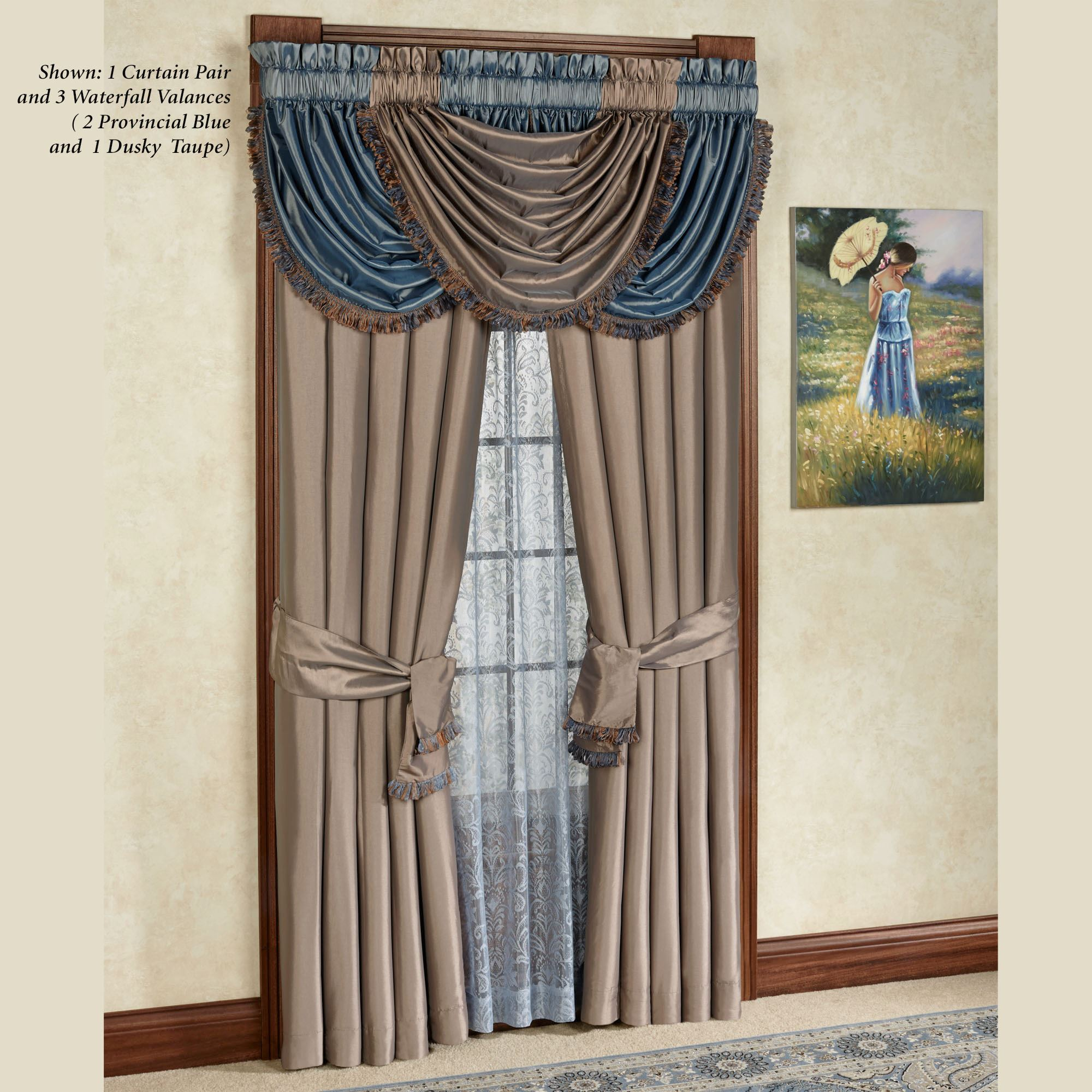 for fancy blue and special decorations valance style dark design curtains idea colors ideas