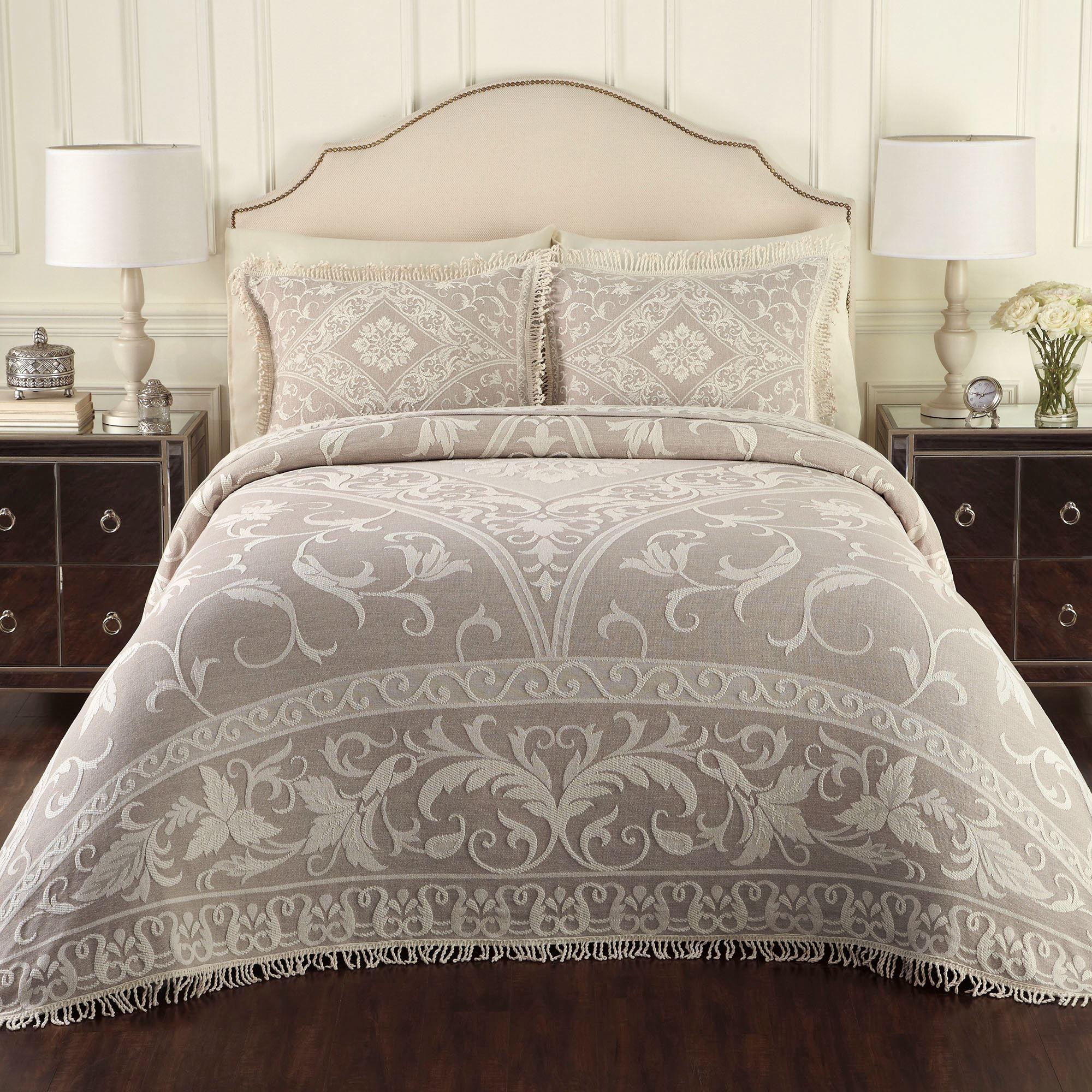 Gabriella Jacquard Woven Fringed Bedspread Bedding