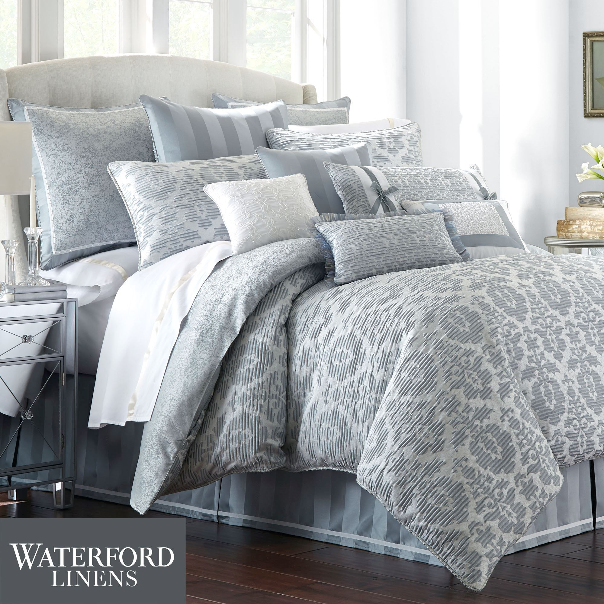 and haley p pale set by wright piper bedding blue comforter gray