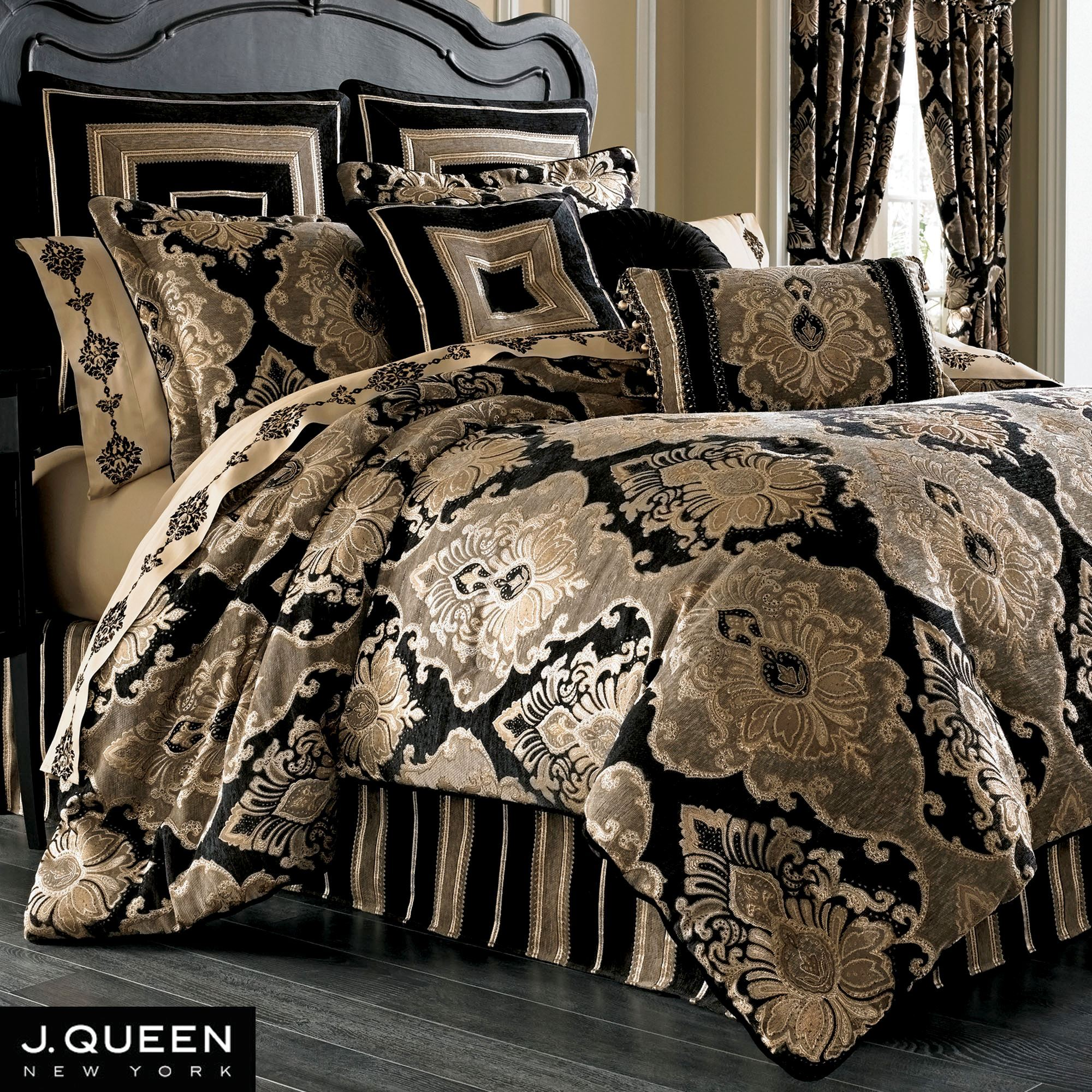 Bradshaw Black Comforter Bedding By J Queen New York