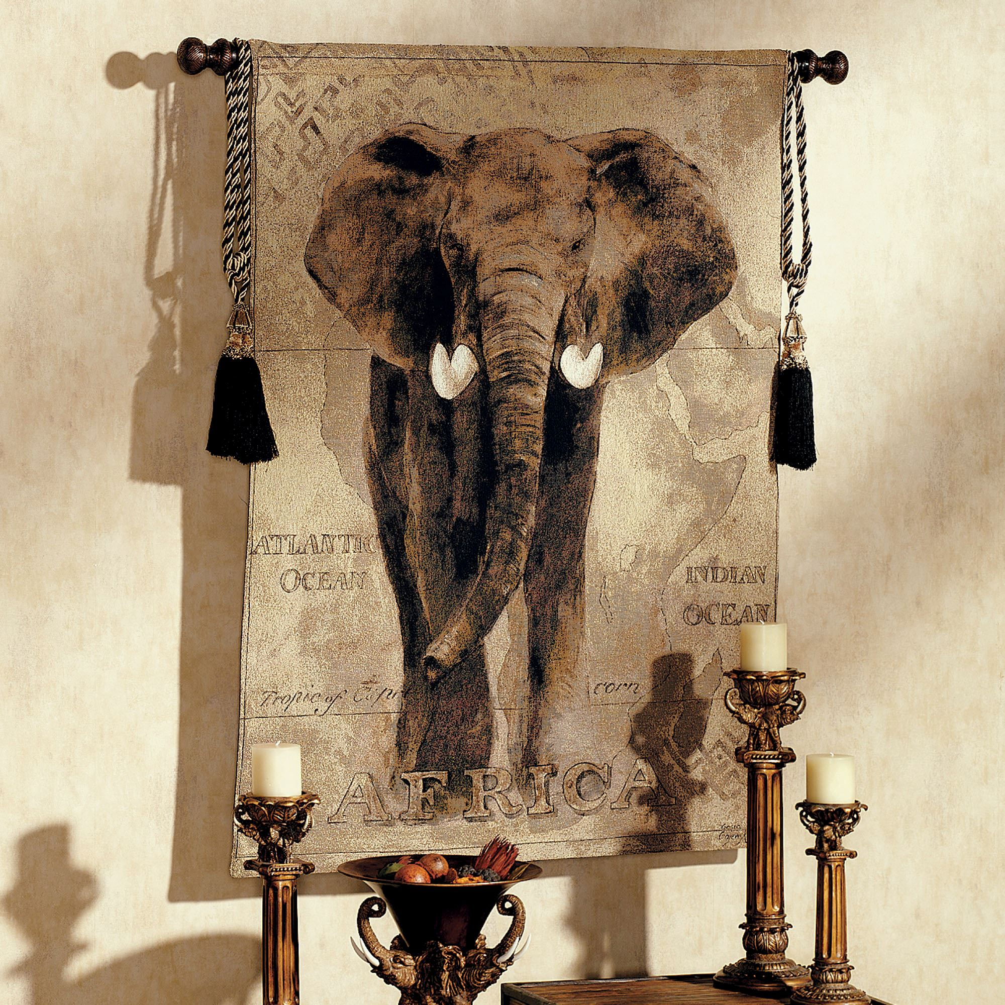 African Voyage Elephant Wall Tapestry
