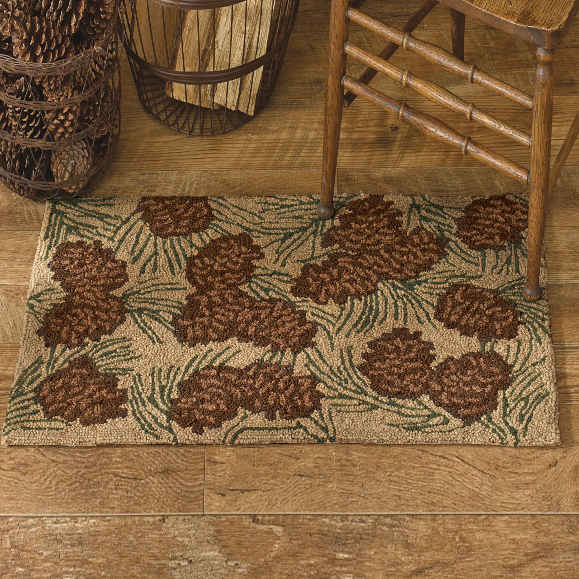 Walk In The Woods Pine Cone Hooked Rugs
