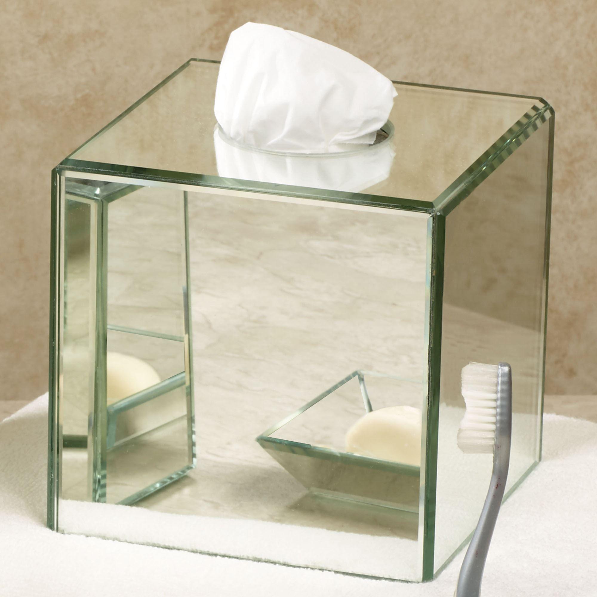 Crystal mirror bath accessories for Mirrored bathroom accessories sets