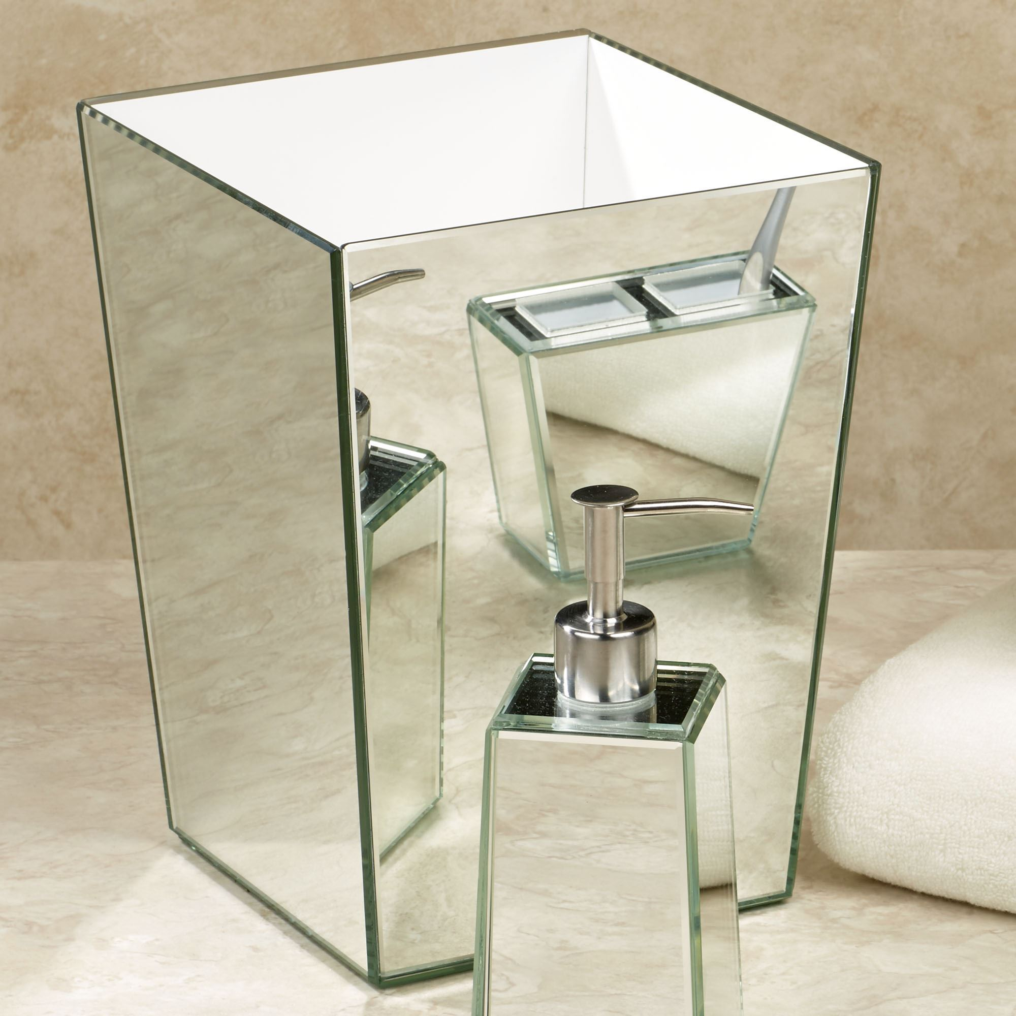 crystal bathroom accessories. crystal mirror wastebasket silver bathroom accessories