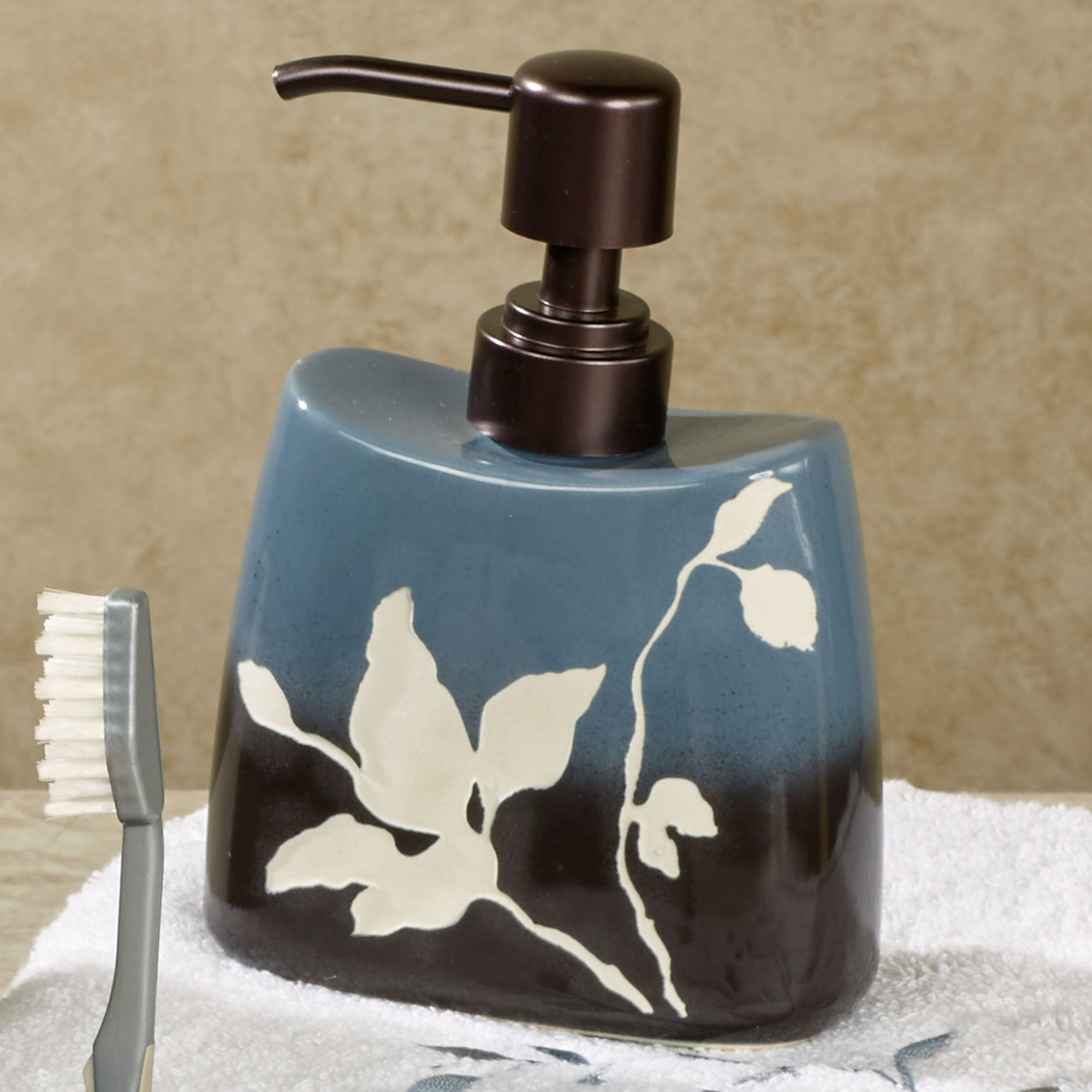 bathroom soap dispensers bath accessories. Passell Lotion Soap Dispenser Slate Blue and Brown Ceramic Bath Accessories