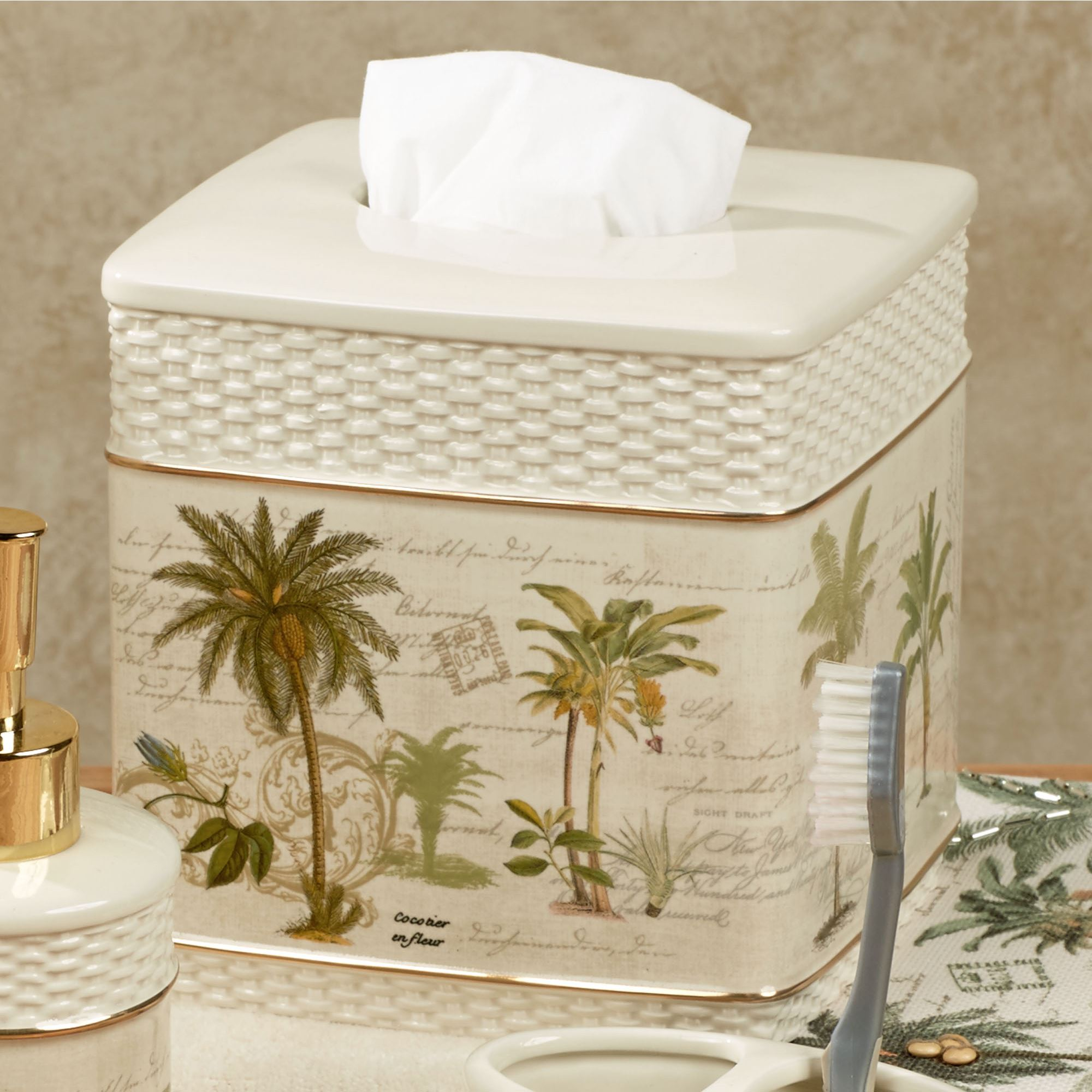 Colony Palm Tissue Cover Ivory